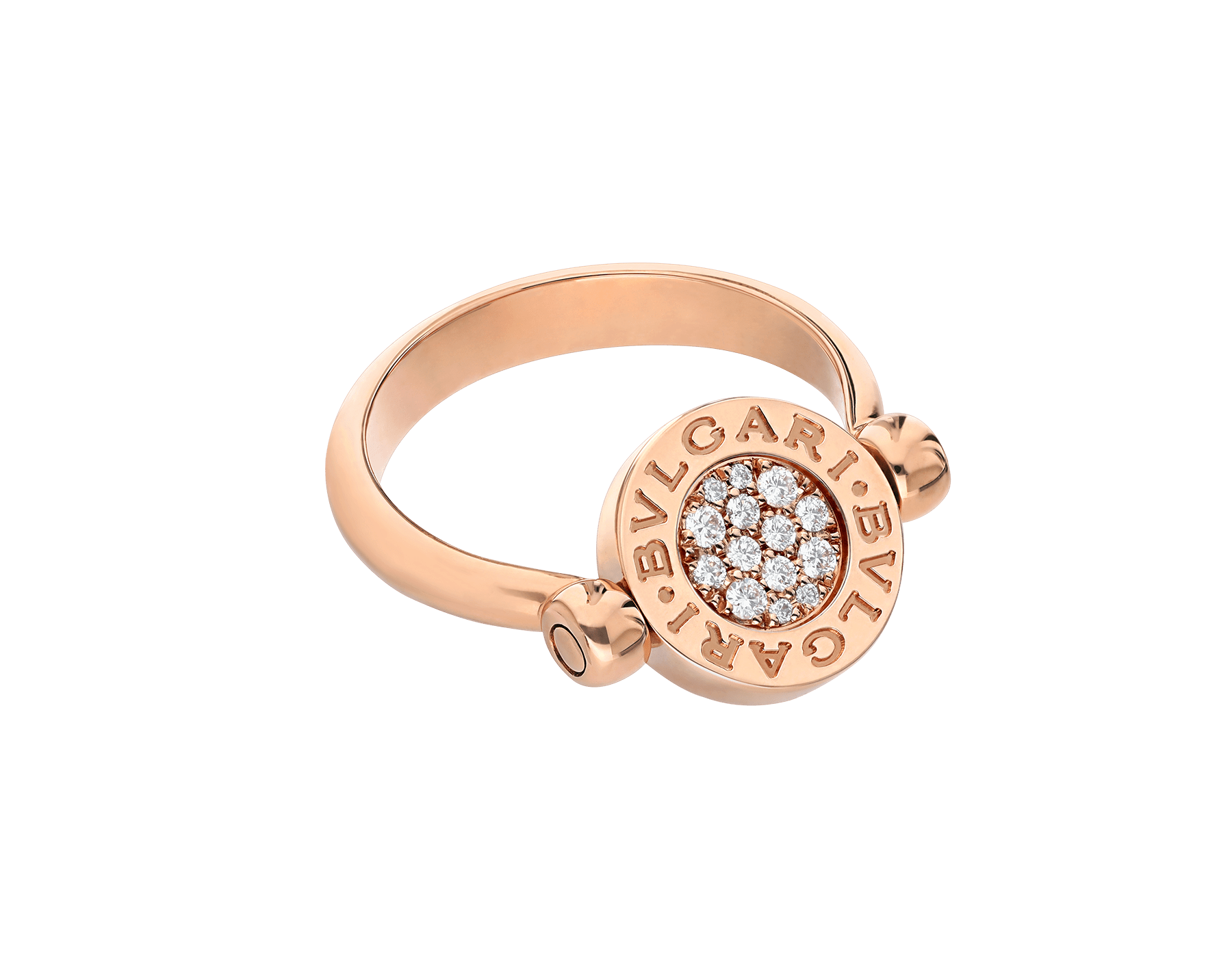 BVLGARI BVLGARI 18 kt rose gold flip ring set with mother-of-pearl and pavé diamonds AN857171 image 2