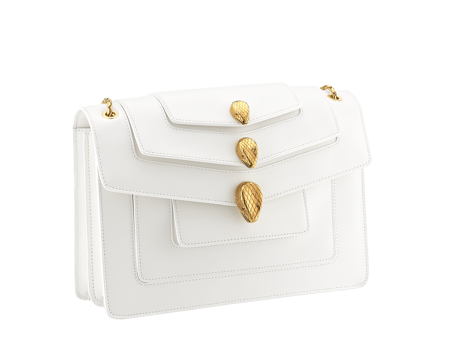 Alexander Wang x Bvlgari Triplette shoulder bag in smooth white calf leather. New triple Serpenti head closure in antique gold plated brass with tempting red enamel eyes. Limited edition. 288744 image 2