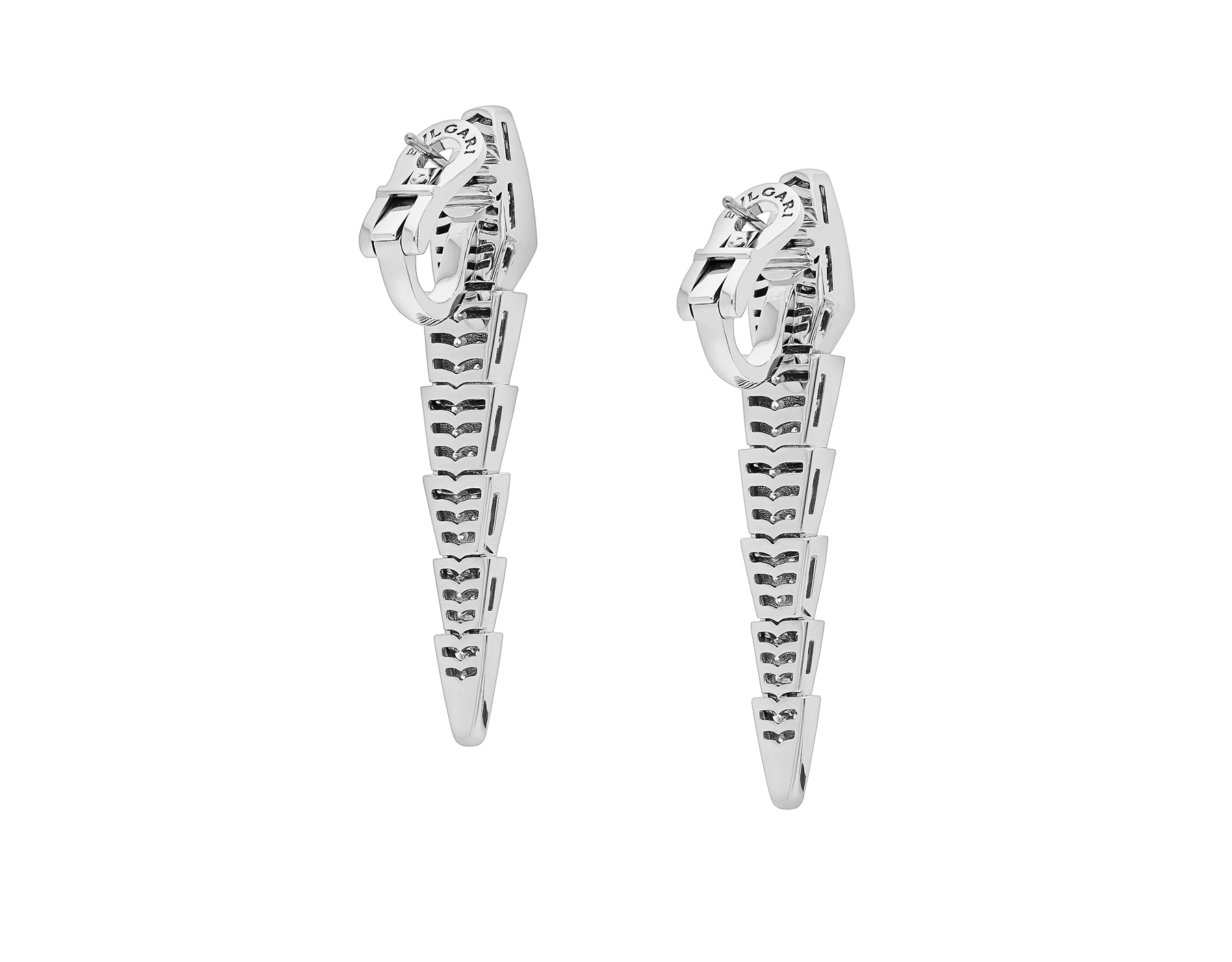 Serpenti earrings in 18 kt white gold, set with full pavé diamonds. 348320 image 3