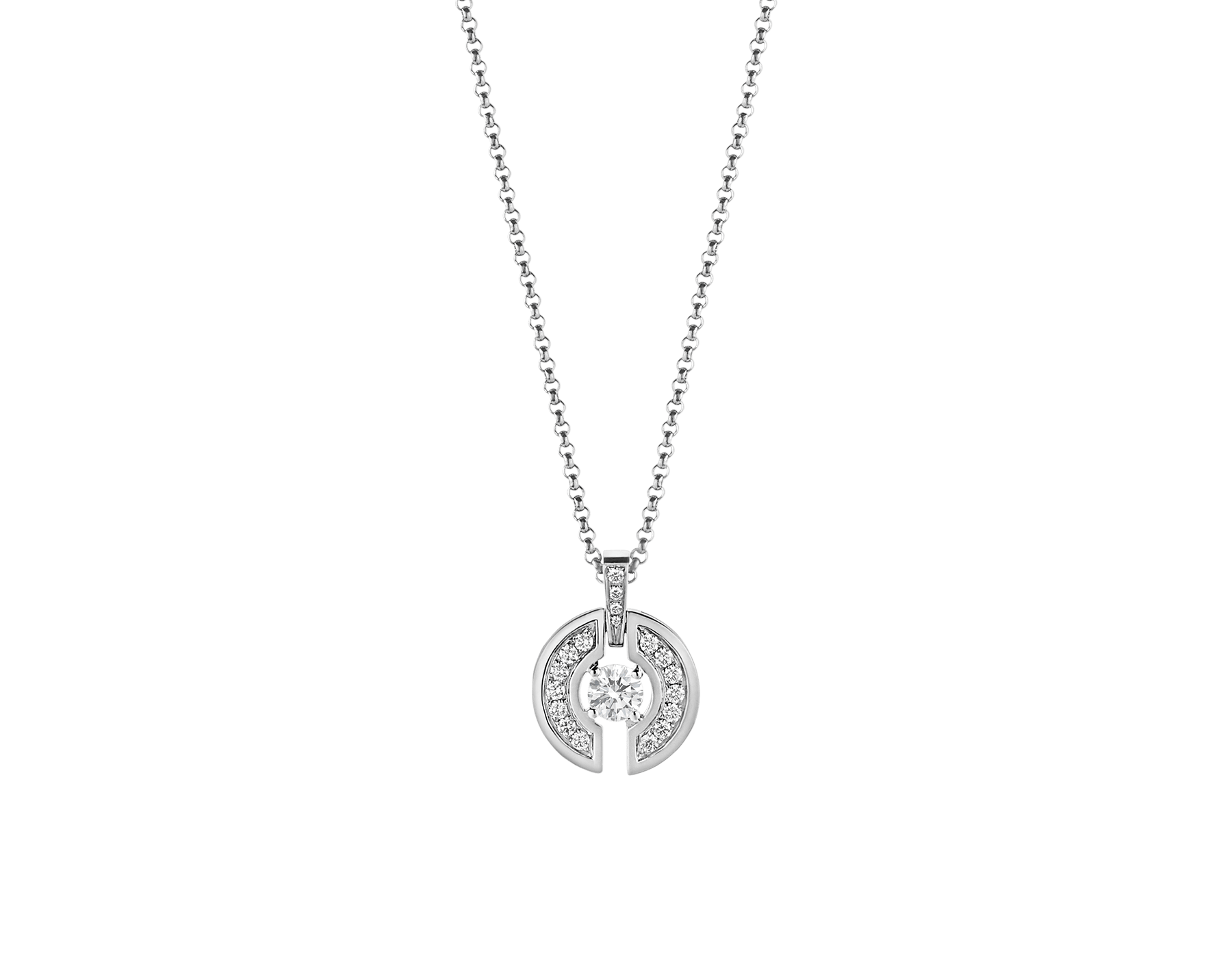 Parentesi necklace with 18 kt white gold chain and pendant, set with a central diamond and pavé diamonds. 354312 image 1