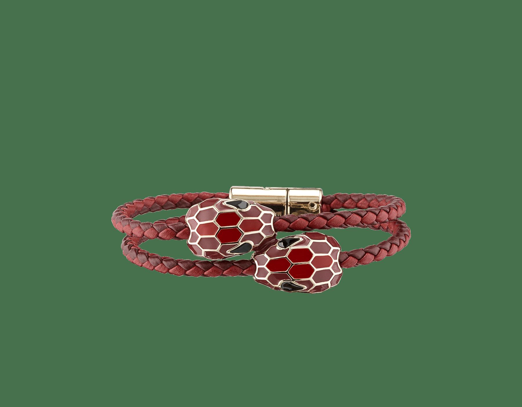 Bracelet tressé double Serpenti Forever en cuir de veau tressé couleur rouge rubis et Carmine Jasper avec motif en miroir Serpenti emblématique en émail couleur rouge rubis et Carmine Jasper. 289263 image 1