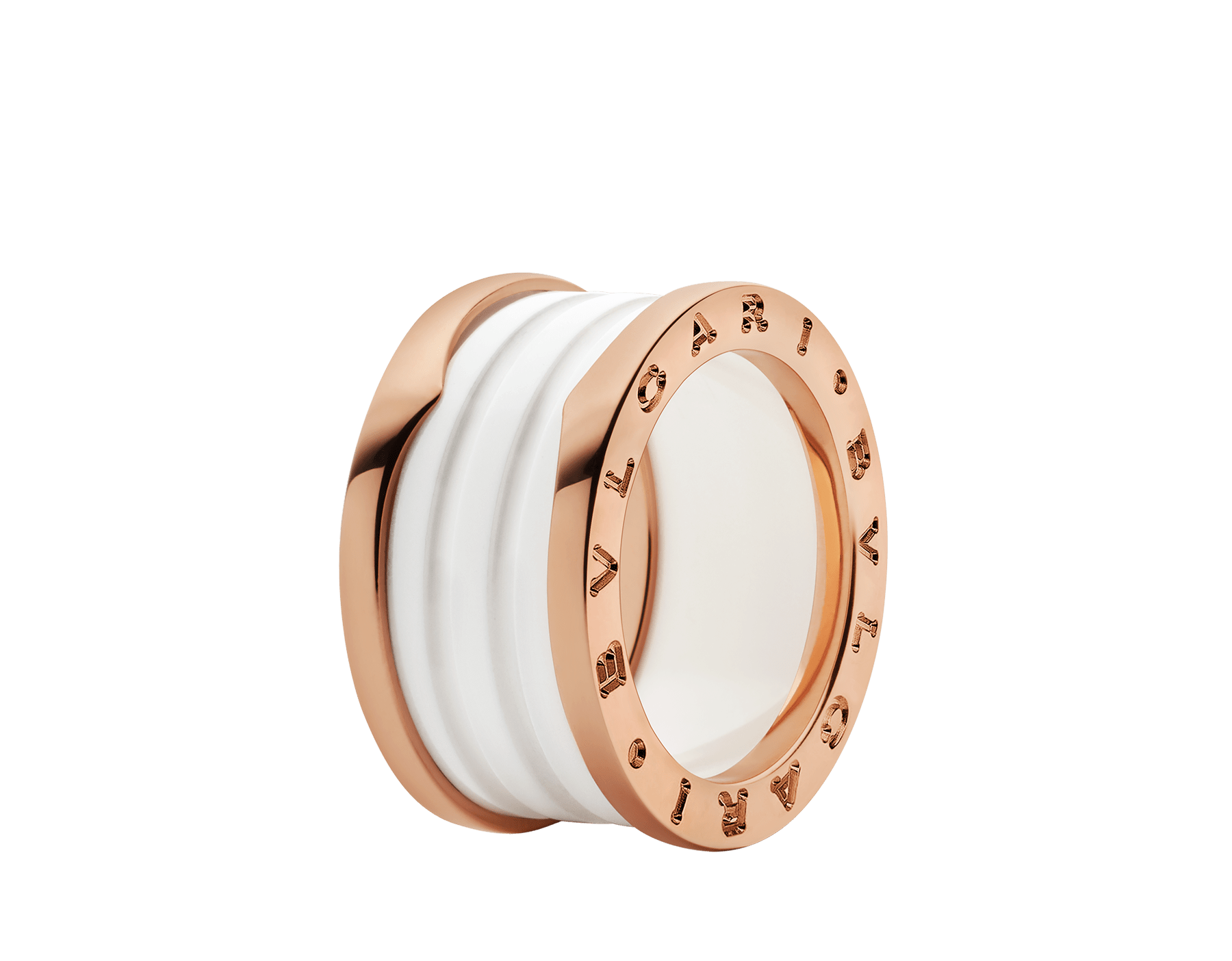 B.zero1 four-band ring with two 18 kt rose gold loops and a white ceramic spiral. B-zero1-4-bands-AN855564 image 1