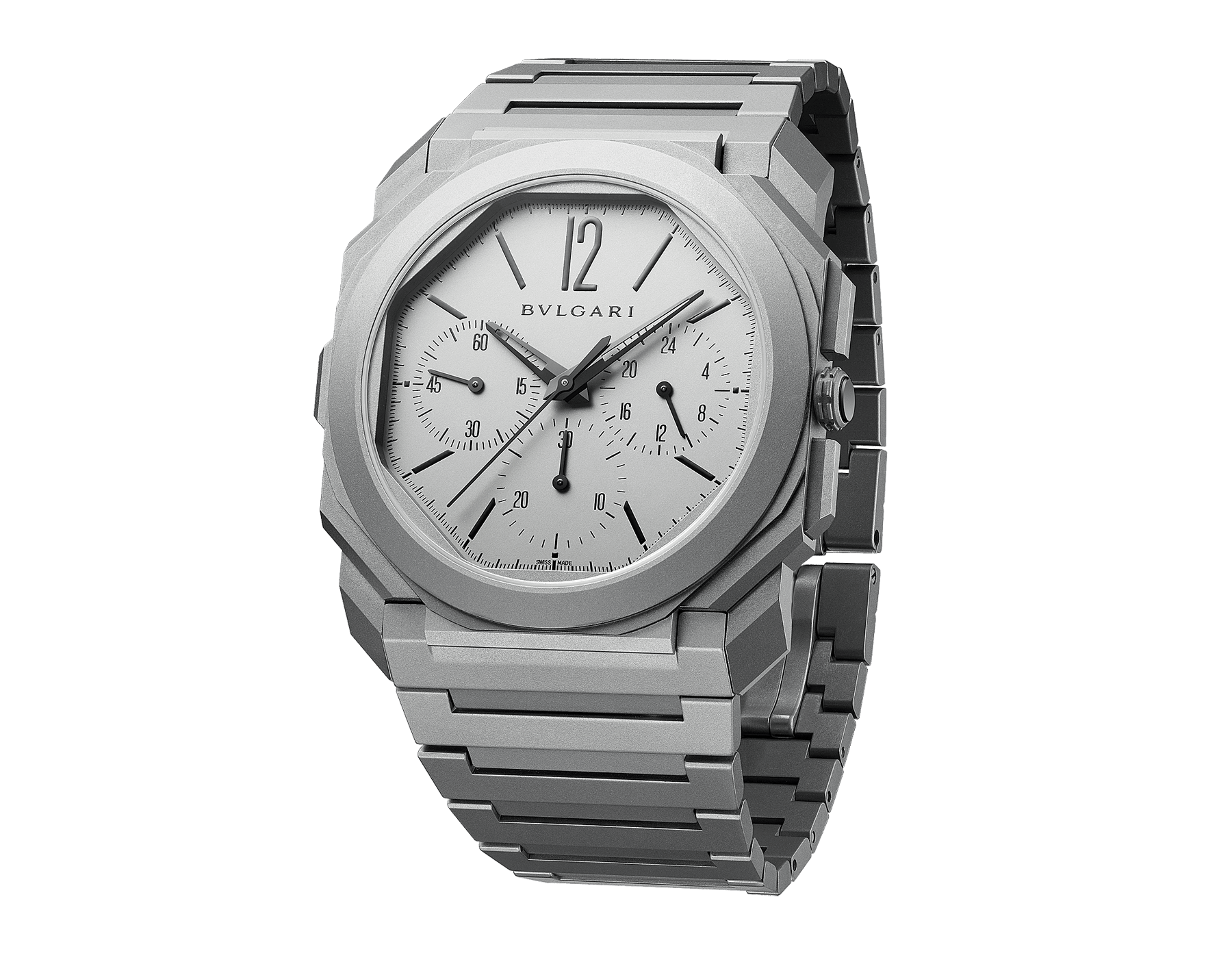 Octo Finissimo Chrono GMT watch with extra-thin mechanical manufacture chronograph and GMT movement, automatic winding, peripheral rotor, sandblasted titanium case, transparent case back, sandblasted titanium dial and bracelet. Water-resistant up to 30 metres 103068 image 2