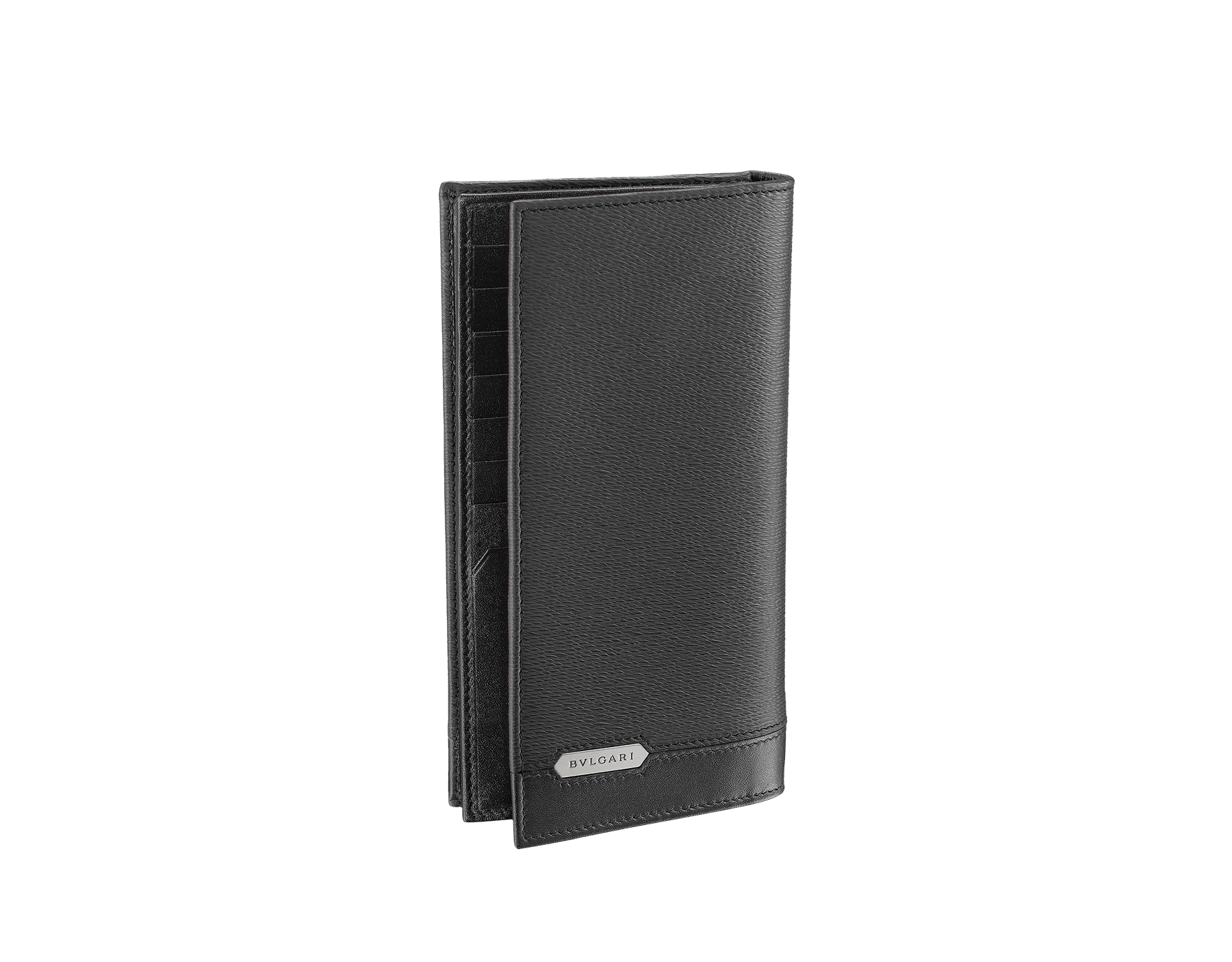 Wallet for yen in black grazed calf leather with brass and black calf leather. Bulgari logo on metal plate featuring the iconic Serpenti Scaglie Man motif. 284731 image 1