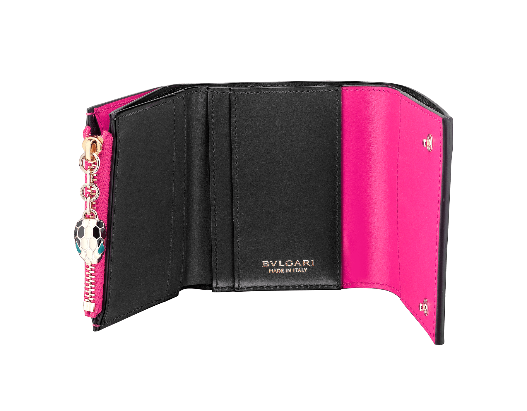 Serpenti Forever super compact wallet in Roman garnet and pink spinel calf leather. Iconic snakehead stud closure in black and white enamel with green malachite enamel eyes. SEA-SUPERCOMPACT-CLa image 2