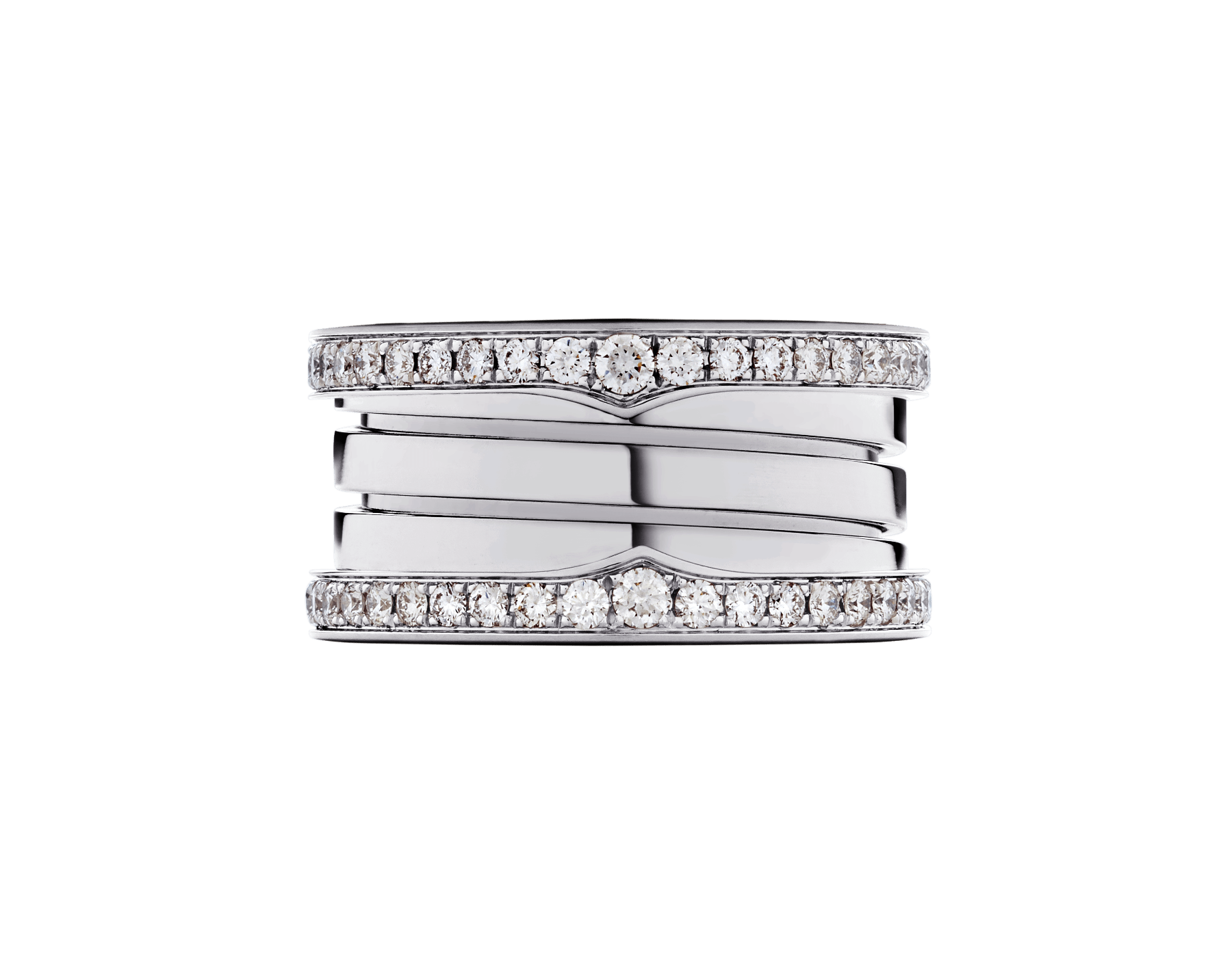 B.zero1 four-band ring in 18 kt white gold, set with pavé diamonds on the edges. B-zero1-4-bands-AN857023 image 4
