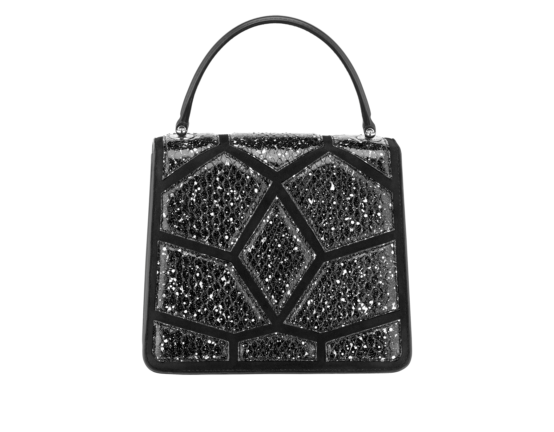 Serpenti Forever 斜背包採用黑色和白色「宇宙星塵」蟒皮和黑色小牛皮。鍍鈀黃銅蛇頭扣環飾以黑色琺瑯,蛇眼鑲飾黑色縞瑪瑙。 288223 image 3