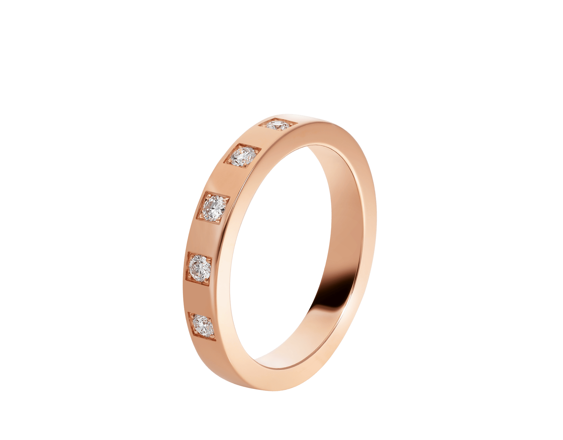 MarryMe 18 kt rose gold wedding band set with five diamonds AN858412 image 1