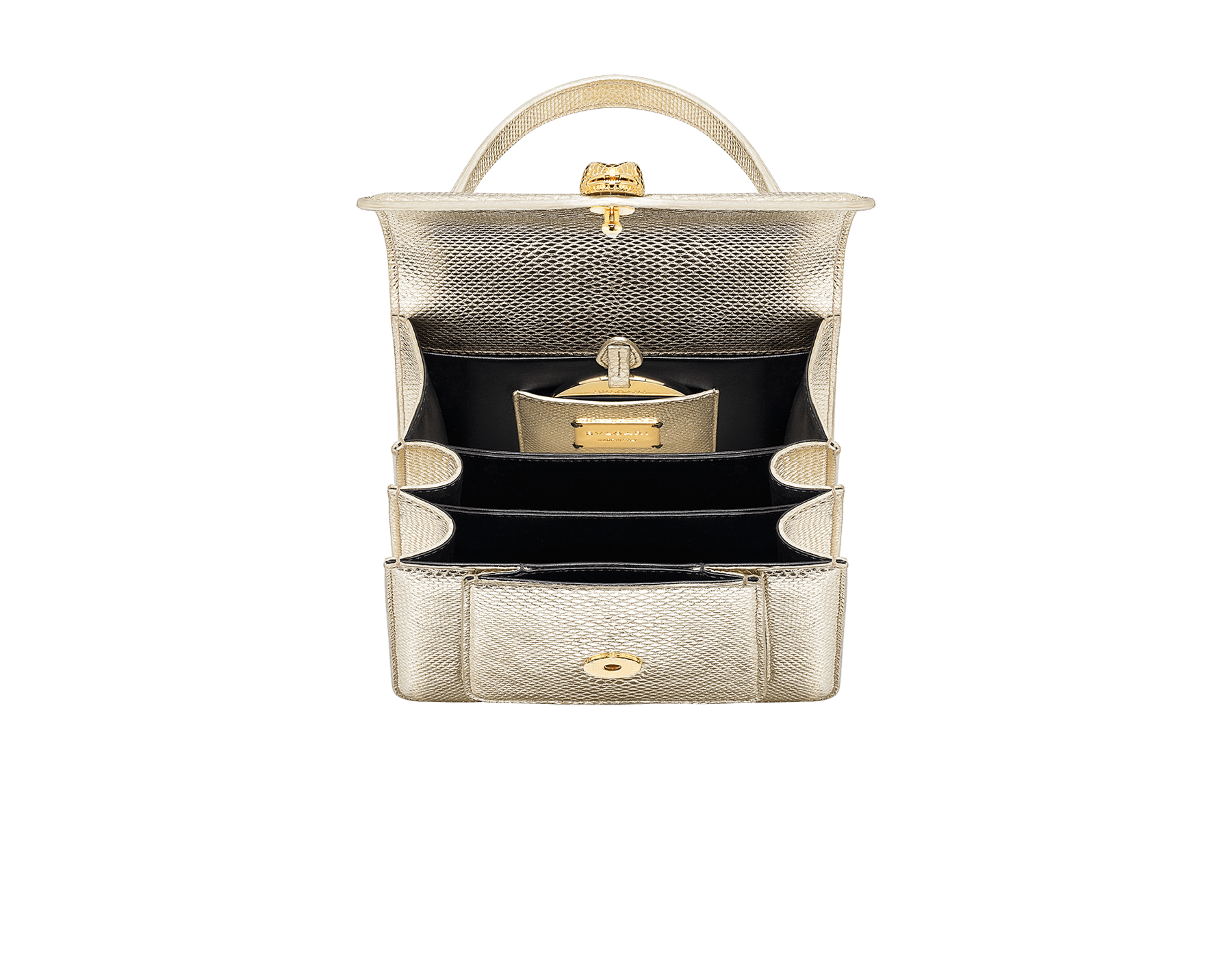 """Serpenti Forever"" small maxi chain top handle bag in peach nappa leather, with Lavander Amethyst lilac nappa leather internal lining. New Serpenti head closure in gold plated brass, finished with small pink mother-of-pearl scales in the middle and red enamel eyes. 1133-MCN image 4"