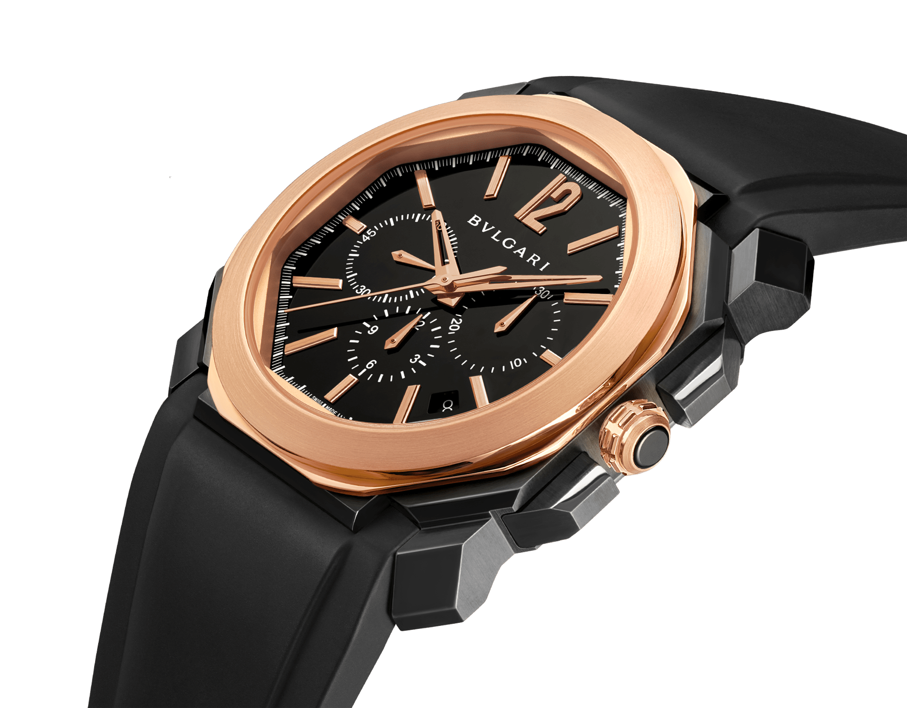 Octo watch with mechanical manufacture movement, high-frequency chronograph, automatic winding and date, stainless steel case treated with black Diamond Like Carbon, 18 kt rose gold bezel, black lacquered dial and black rubber bracelet. 102488 image 2