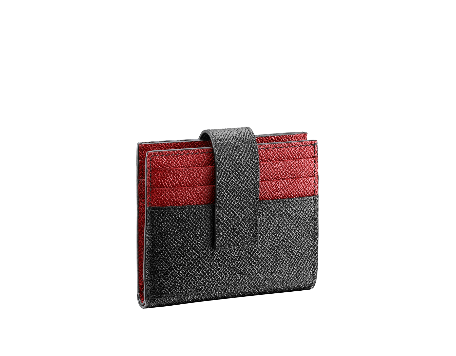 """BVLGARI BVLGARI"" card holder in black and ruby red grain calf leather. Iconic logo decoration in palladium plated brass. 290070 image 3"