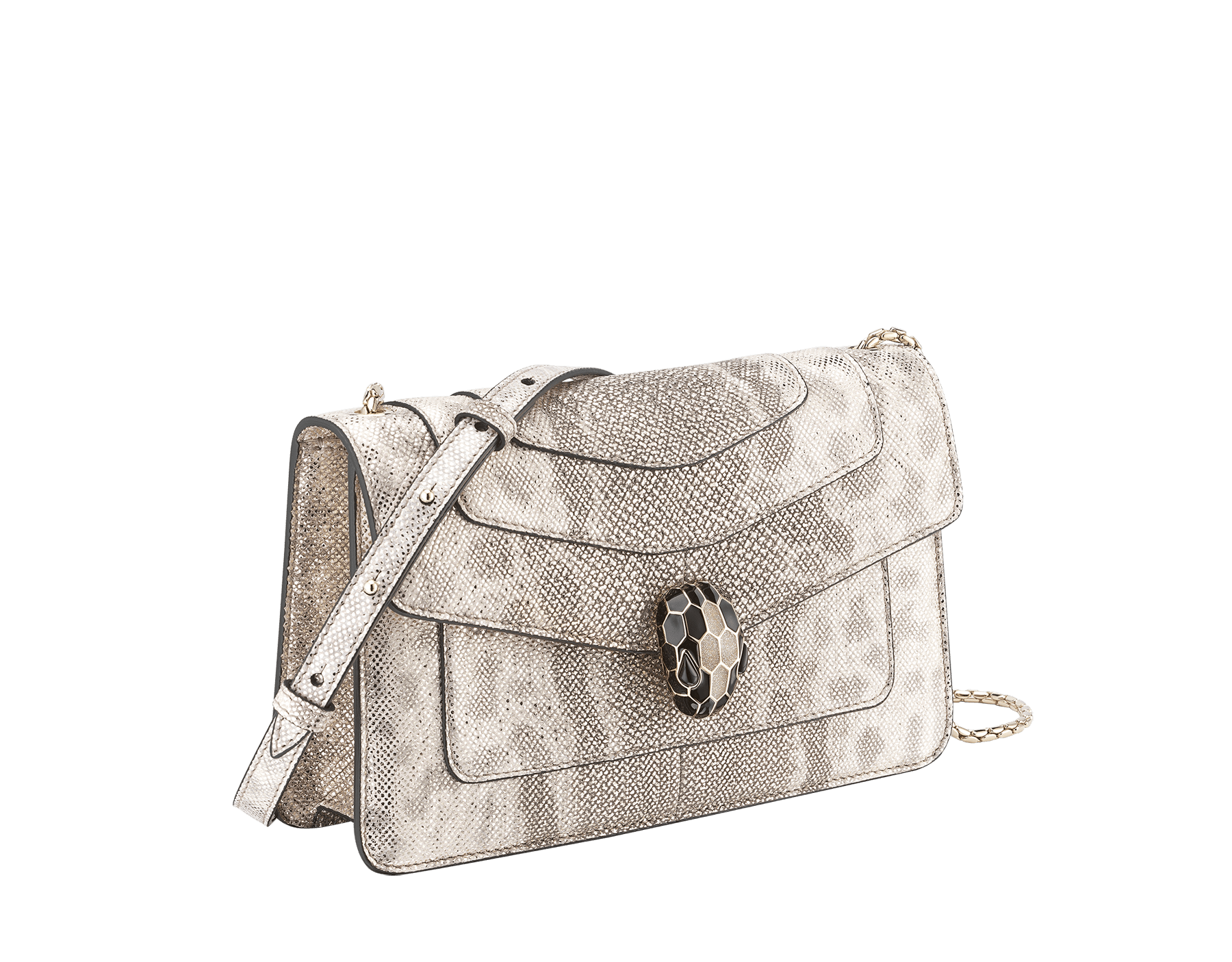"""""""Serpenti Forever"""" crossbody bag in milky opal metallic karung. Iconic snake head closure in light gold-plated brass enriched with black and glitter milky opal and black onyx eyes. 289556 image 2"""