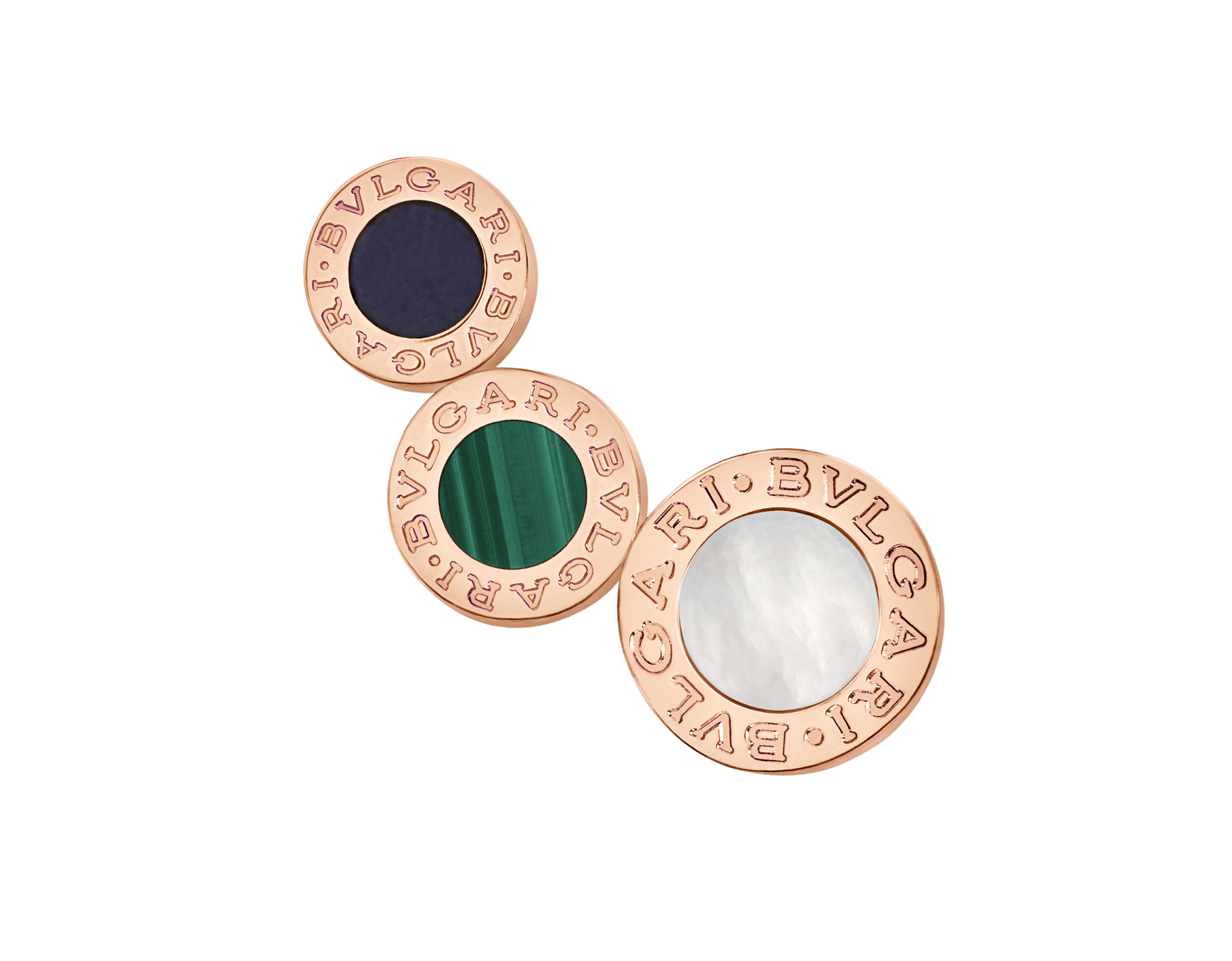 """BVLGARI BVLGARI 18 kt rose gold single earring set with sugilite, malachite and mother-of-pearl elements. Kindly note that this product is sold as a single piece: if you wish to purchase a pair you should select quantity """"2"""" 356431 image 1"""