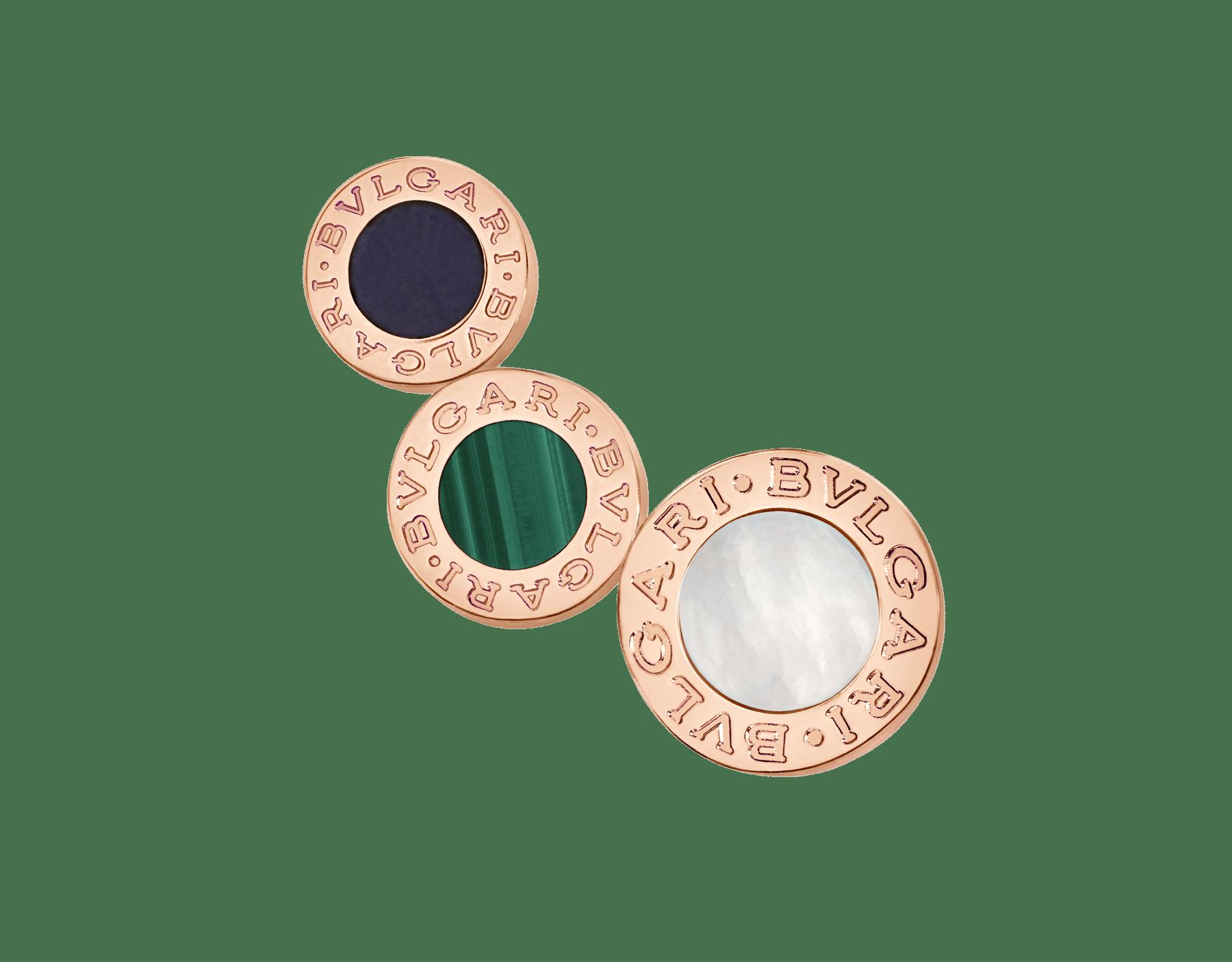 Boucle d'oreille unitaire BVLGARI BVLGARI en or rose 18K sertie d'éléments en sugilite, malachite et nacre 356431 image 1