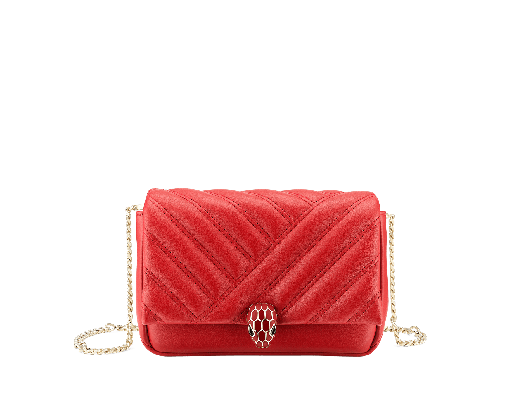 Serpenti Cabochon micro bag in soft matelassé carmine jasper calf leather, with a graphic motif. Brass light gold plated tempting snakehead closure in carmine jasper enamel and black onyx eyes. 288756 image 1