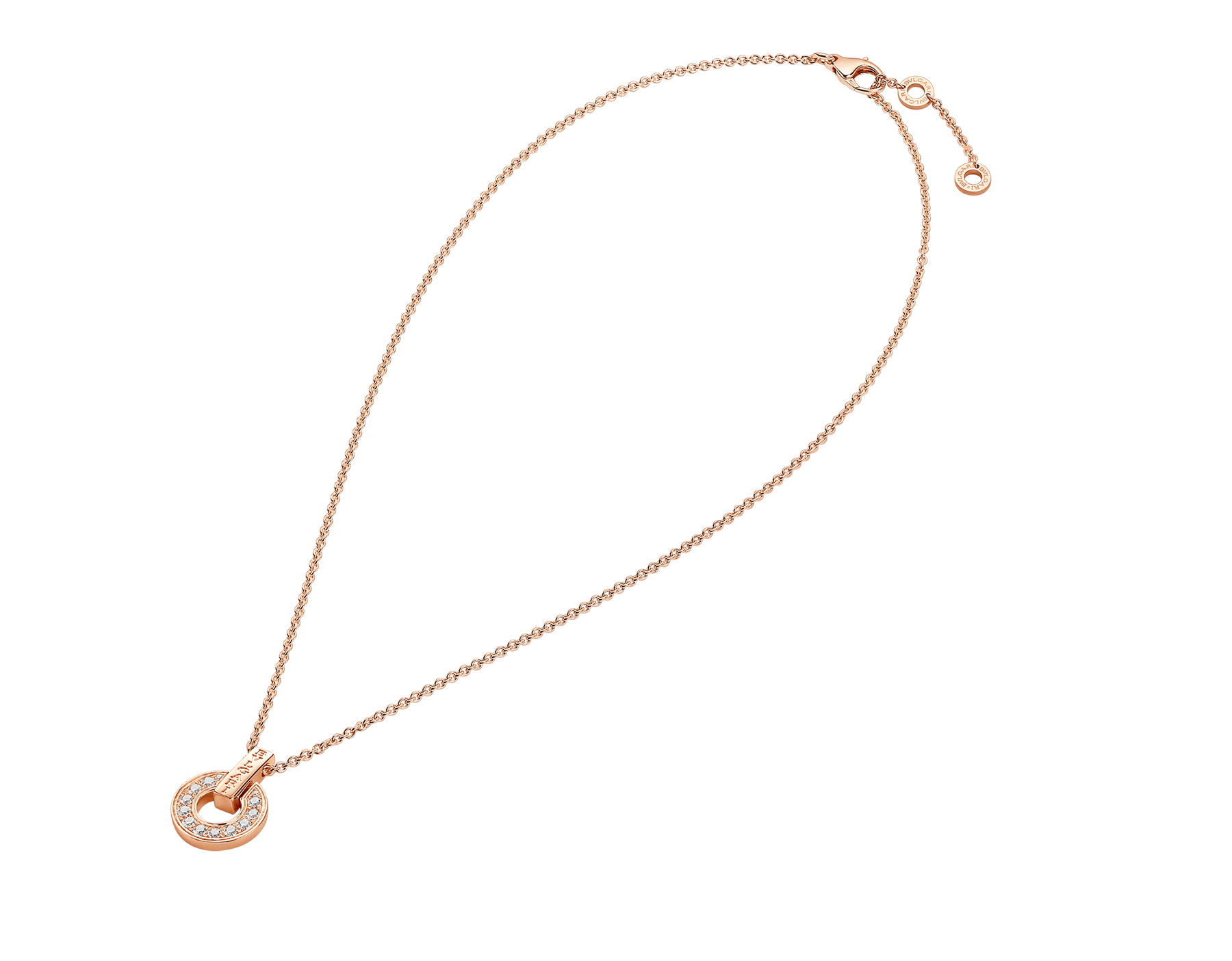BVLGARI BVLGARI openwork 18 kt rose gold necklace set with full pavé diamonds on the pendant 357312 image 2