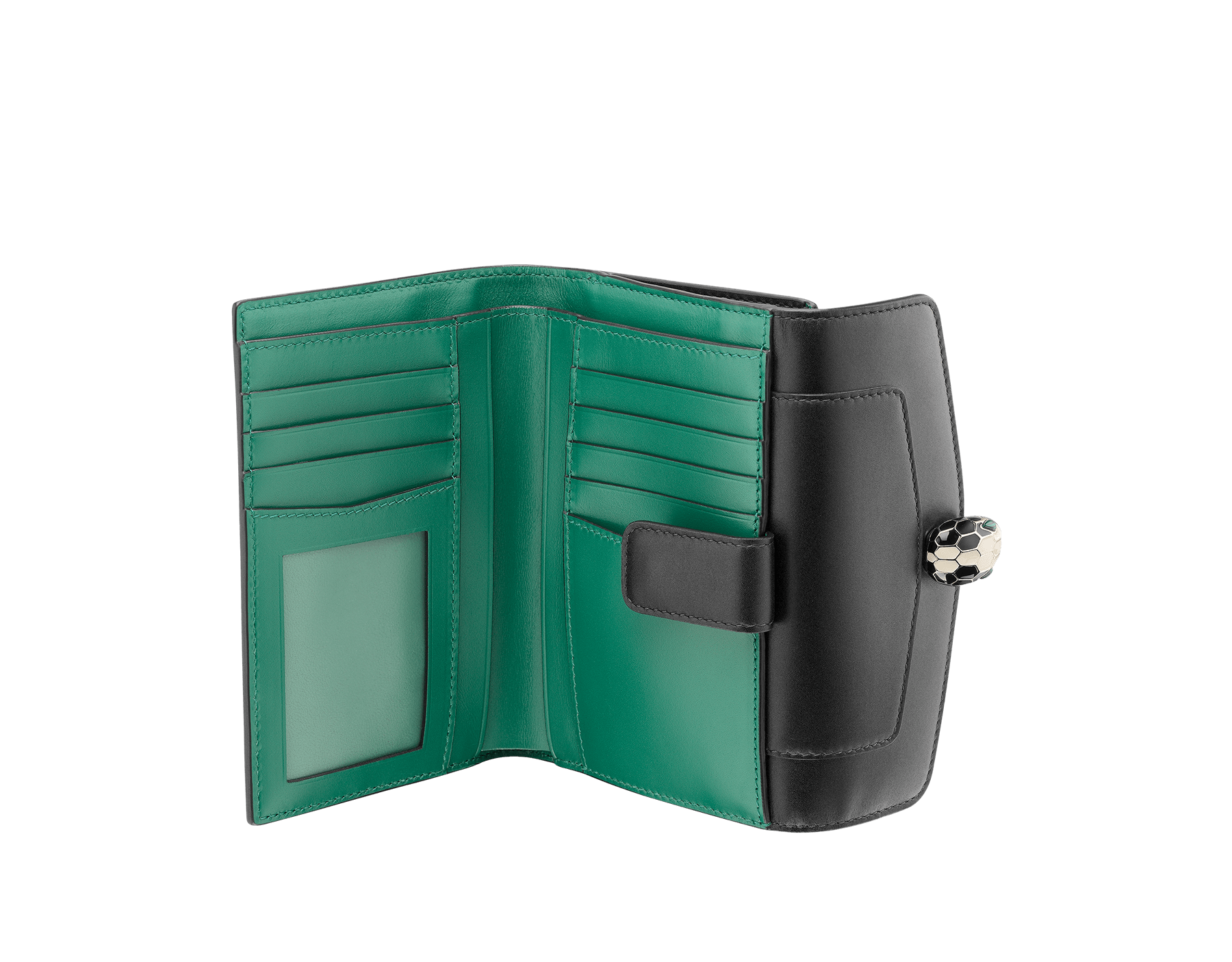 Compact pochette in black calf leather, emerald green calf leather and malachite nappa lining. Brass light gold plated Serpenti head stud closure with green malachite eyes. 282664 image 2