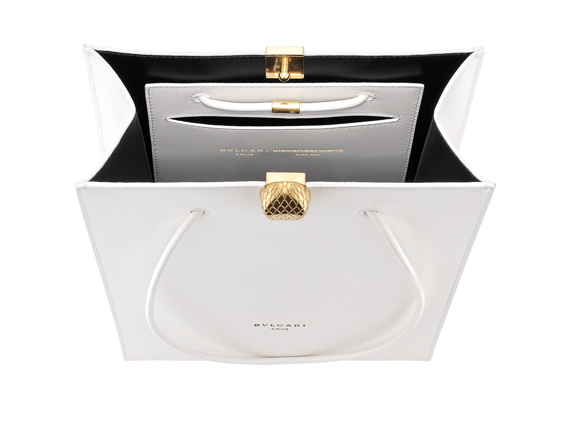Alexander Wang x Bvlgari shopping tote bag in smooth white calf leather. New Serpenti head closure in antique gold plated brass with tempting red enamel eyes. Limited edition. 288730 image 4