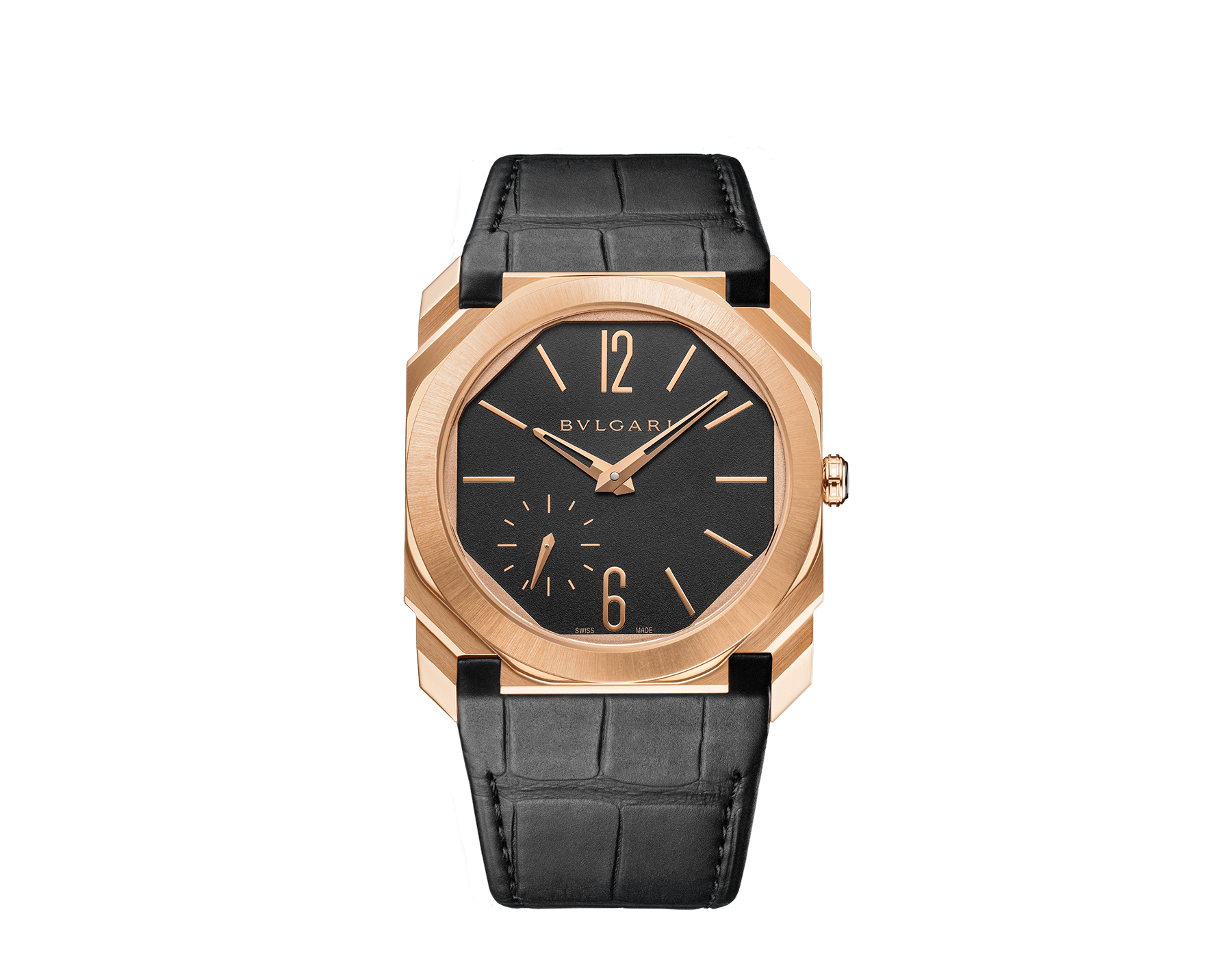 Octo Finissimo Automatic 超薄自動腕錶,搭載機械機芯,自動上鍊,鉑金微型自動盤,小秒針盤。18K 玫瑰金緞面拋光超薄錶殼,透明底蓋。黑色霧面錶盤,黑色鱷魚皮錶帶。防水深度 100 公尺。 103286 image 1