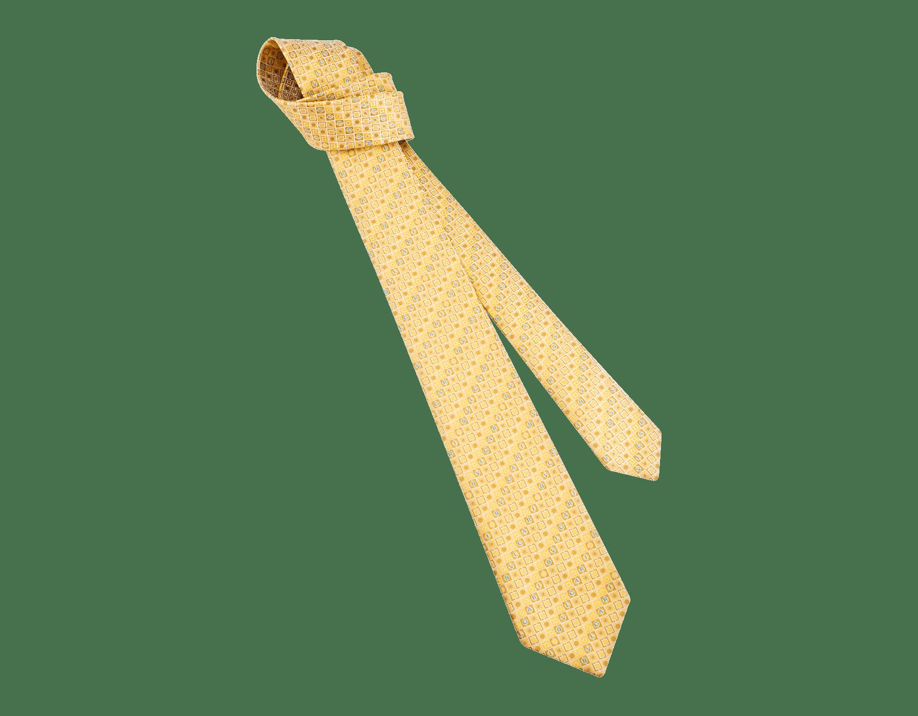 Cravatta sette pieghe gialla con motivo Logo Peter in pregiata seta saglione stampata. 243671 image 1