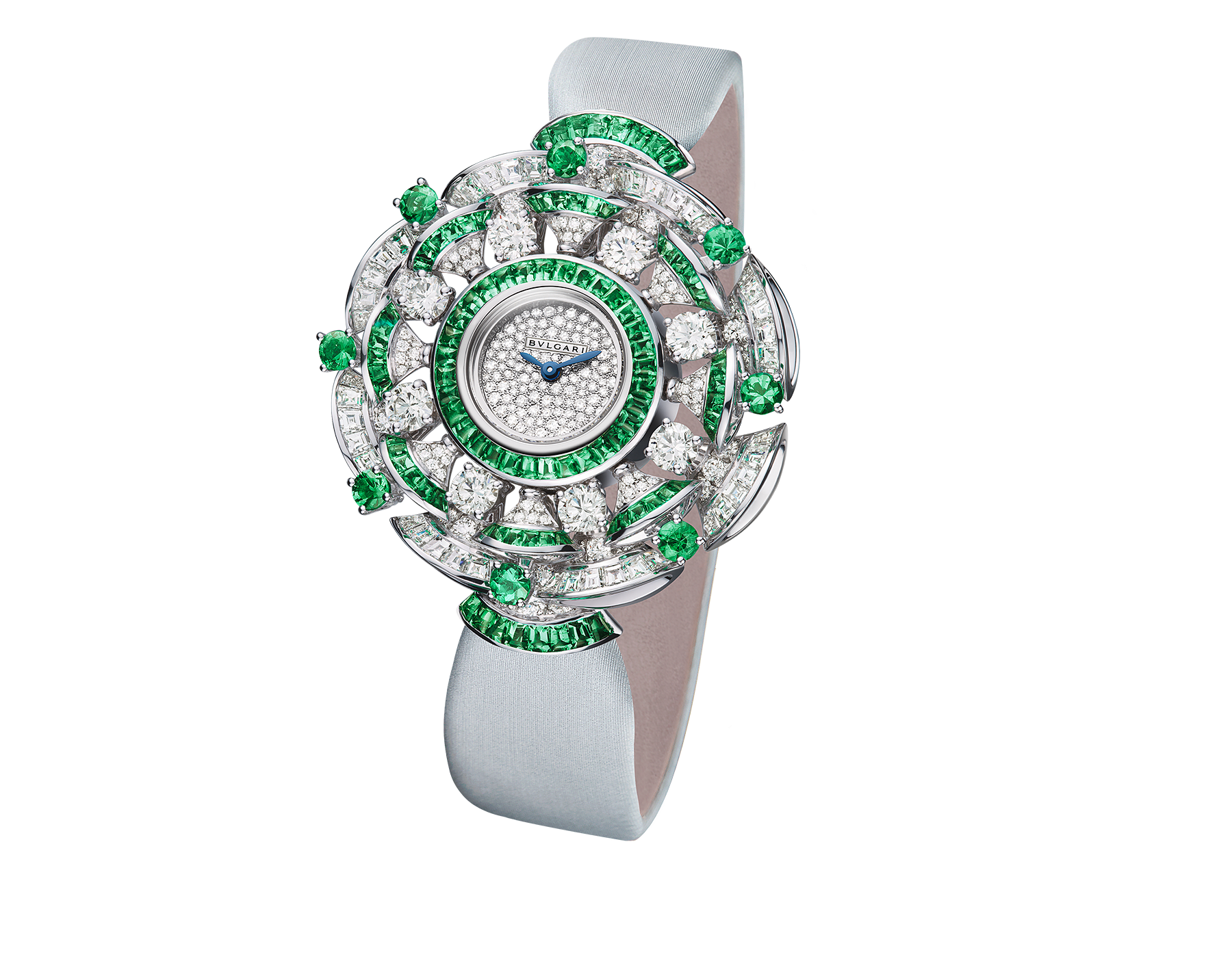 DIVAS' DREAM watch with 18 kt white gold case set with brilliant-cut diamonds and emeralds, buff-cut diamonds and emeralds, snow pavé dial and silver satin bracelet 102463 image 1