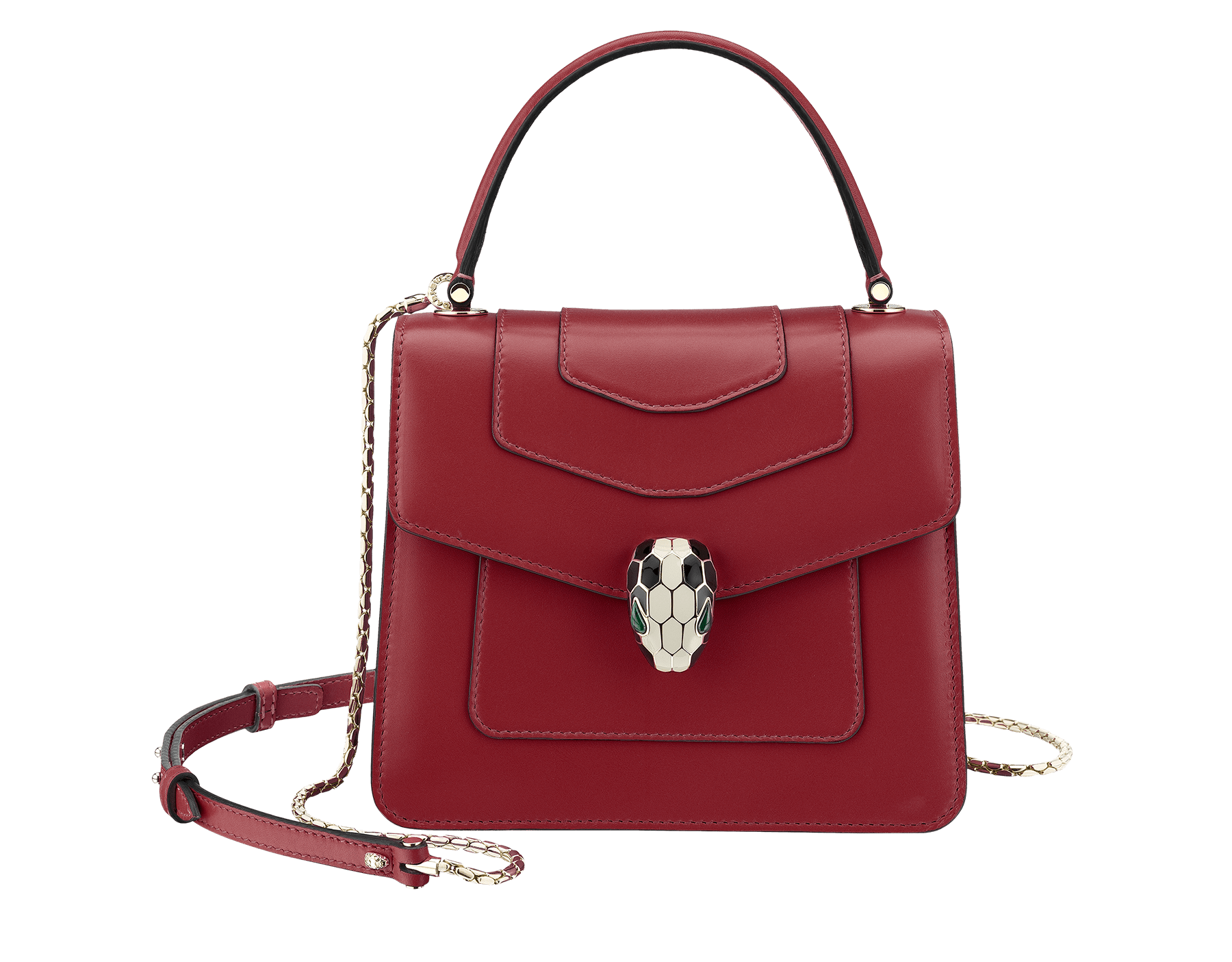 "Flap cover bag ""Serpenti Forever"" in Roman garnet calf leather. Brass light gold plated hardware and snake head closure in black and white enamel with eyes in green malachite. 752-CLe image 1"