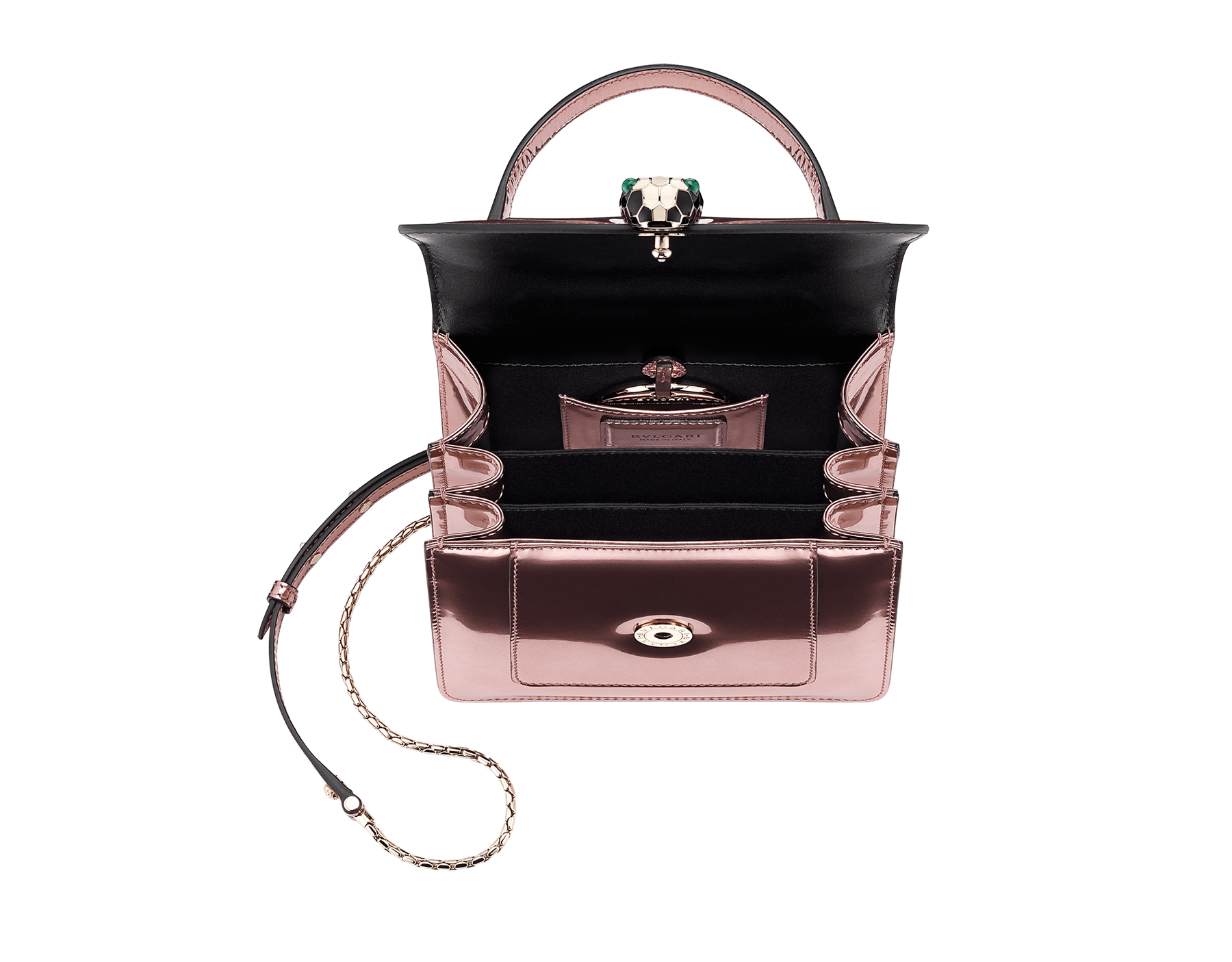 Flap cover bag Serpenti Forever in rose quartz brushed metallic calf leather. Brass light gold plated hardware and snake head closure in black and white enamel, with eyes in green malachite. 284802 image 5