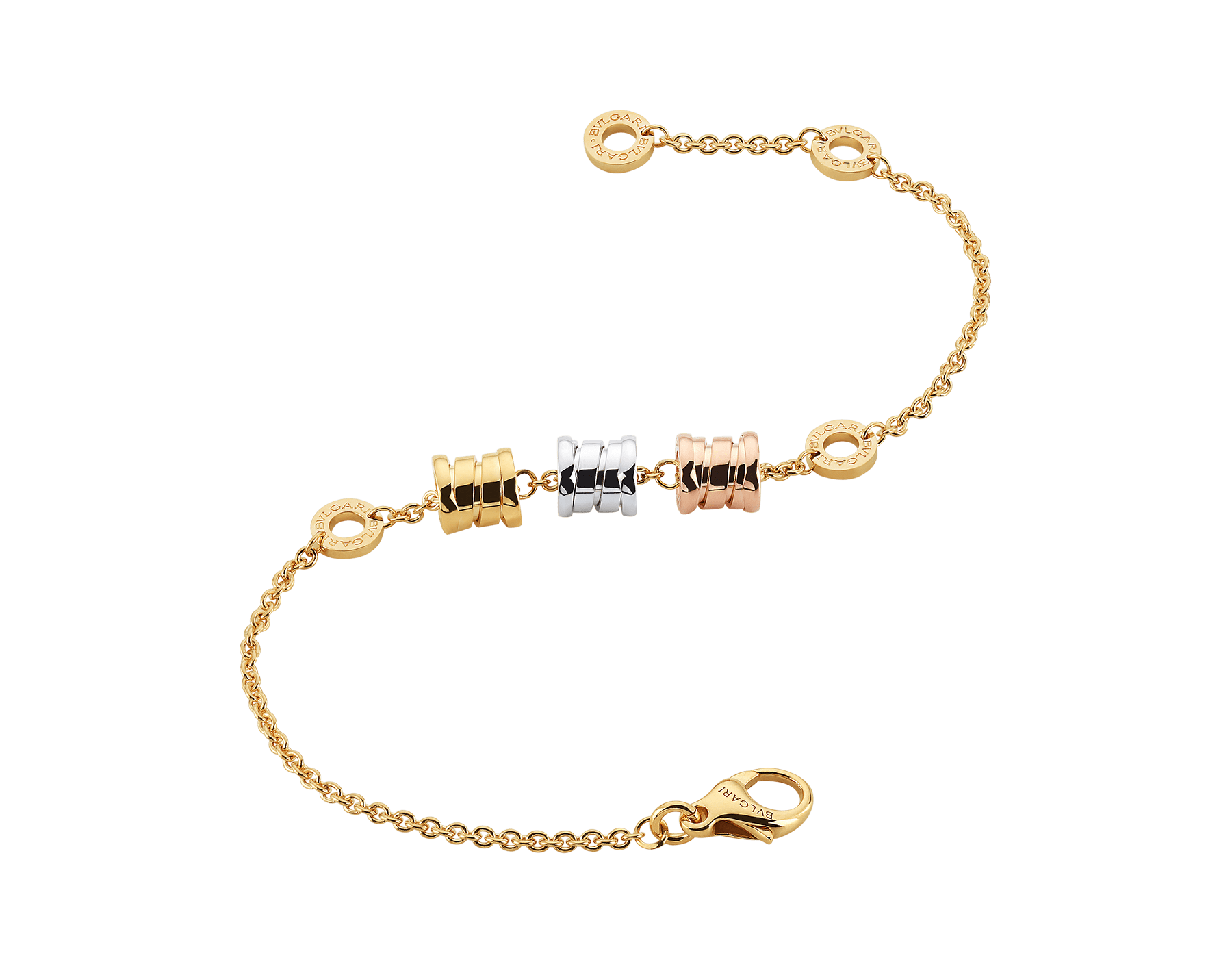 B.zero1 soft bracelet with 18 kt yellow gold chain and three spirals in yellow, white and rose 18 kt gold. BR853666 image 2
