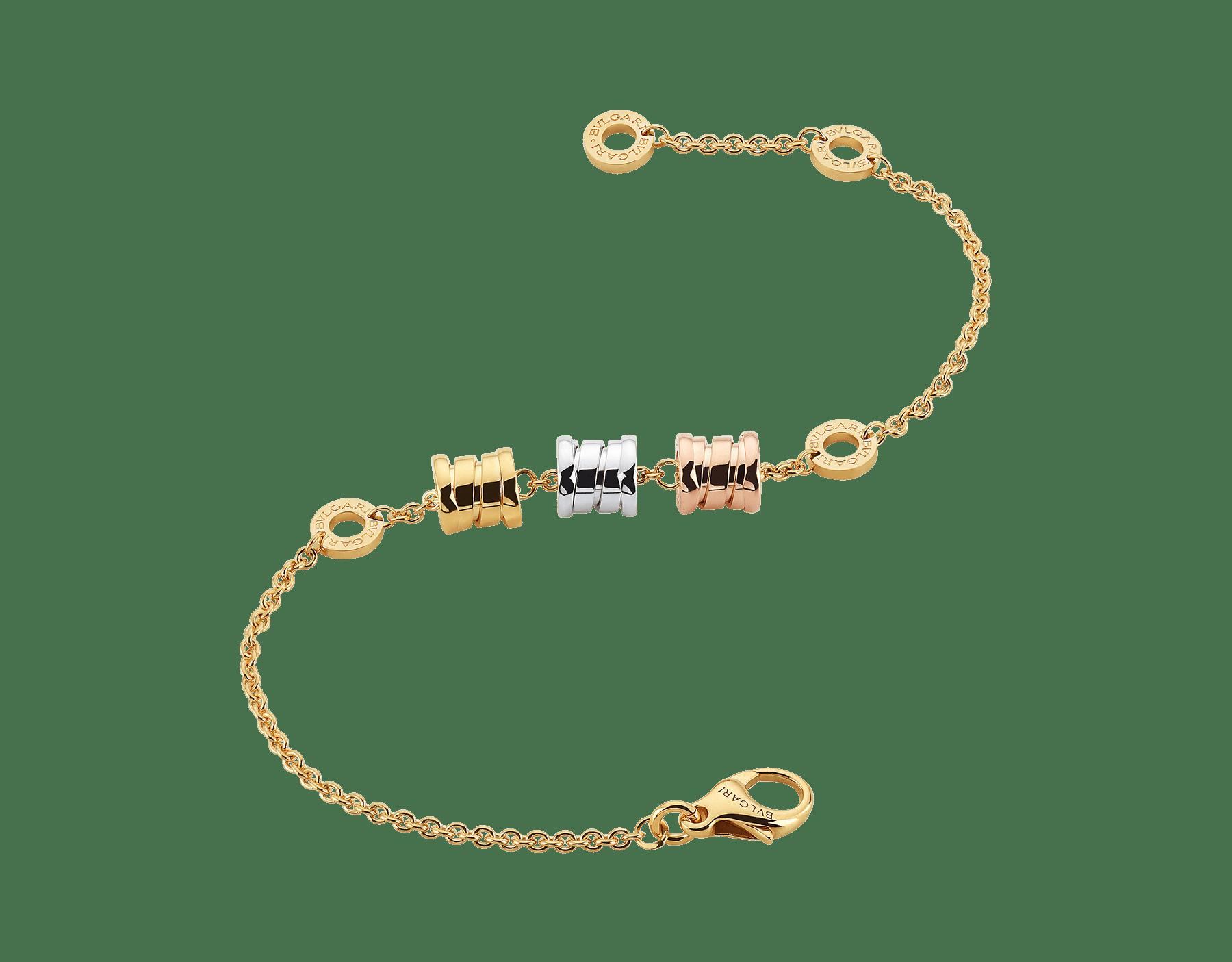 Con tres espirales en todos los colores del oro alrededor de una cadena flexible, la pulsera B.zero1 revela su espíritu contemporáneo con un distintivo diseño e insólitas combinaciones de color. BR853666 image 2