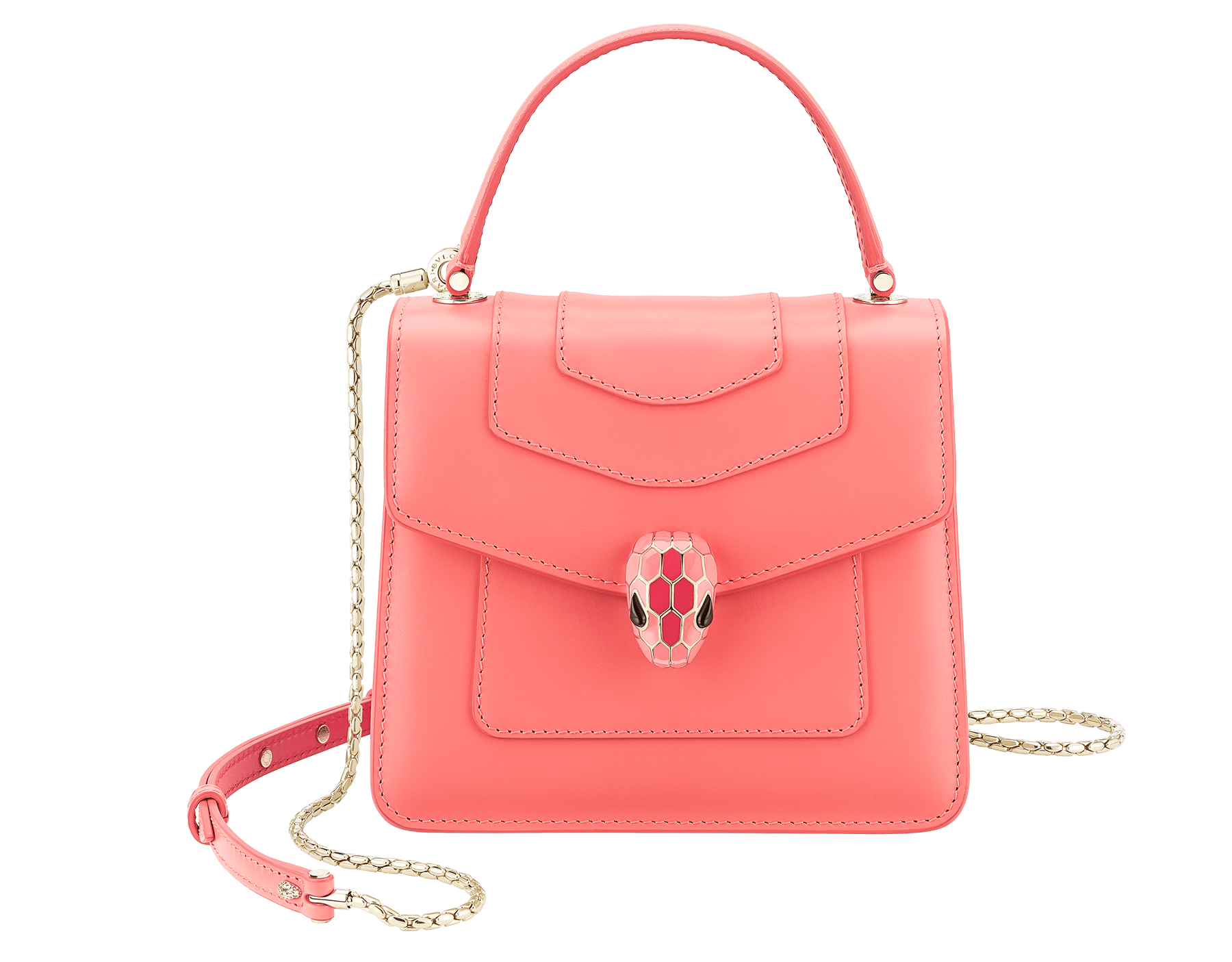 """Serpenti Forever "" crossbody bag with a silky coral calf leather body and rosa di francia and starfish calf leather sides. Iconic snakehead closure in light gold plated brass enriched with silky coral and starfish enamel and black onyx eyes. 288774 image 1"