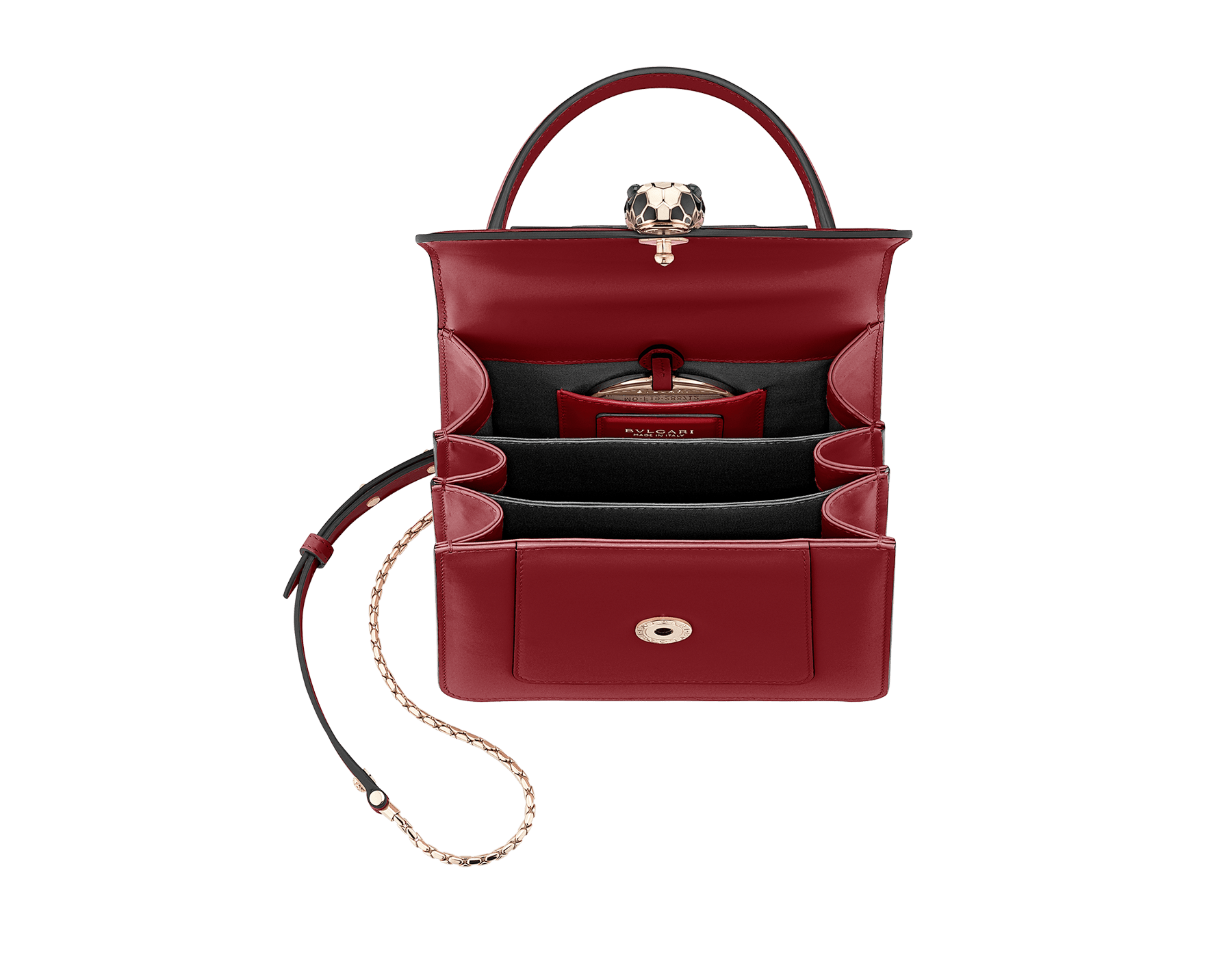 "Flap cover bag ""Serpenti Forever"" in Roman garnet calf leather. Brass light gold plated hardware and snake head closure in black and white enamel with eyes in green malachite. 752-CLe image 4"