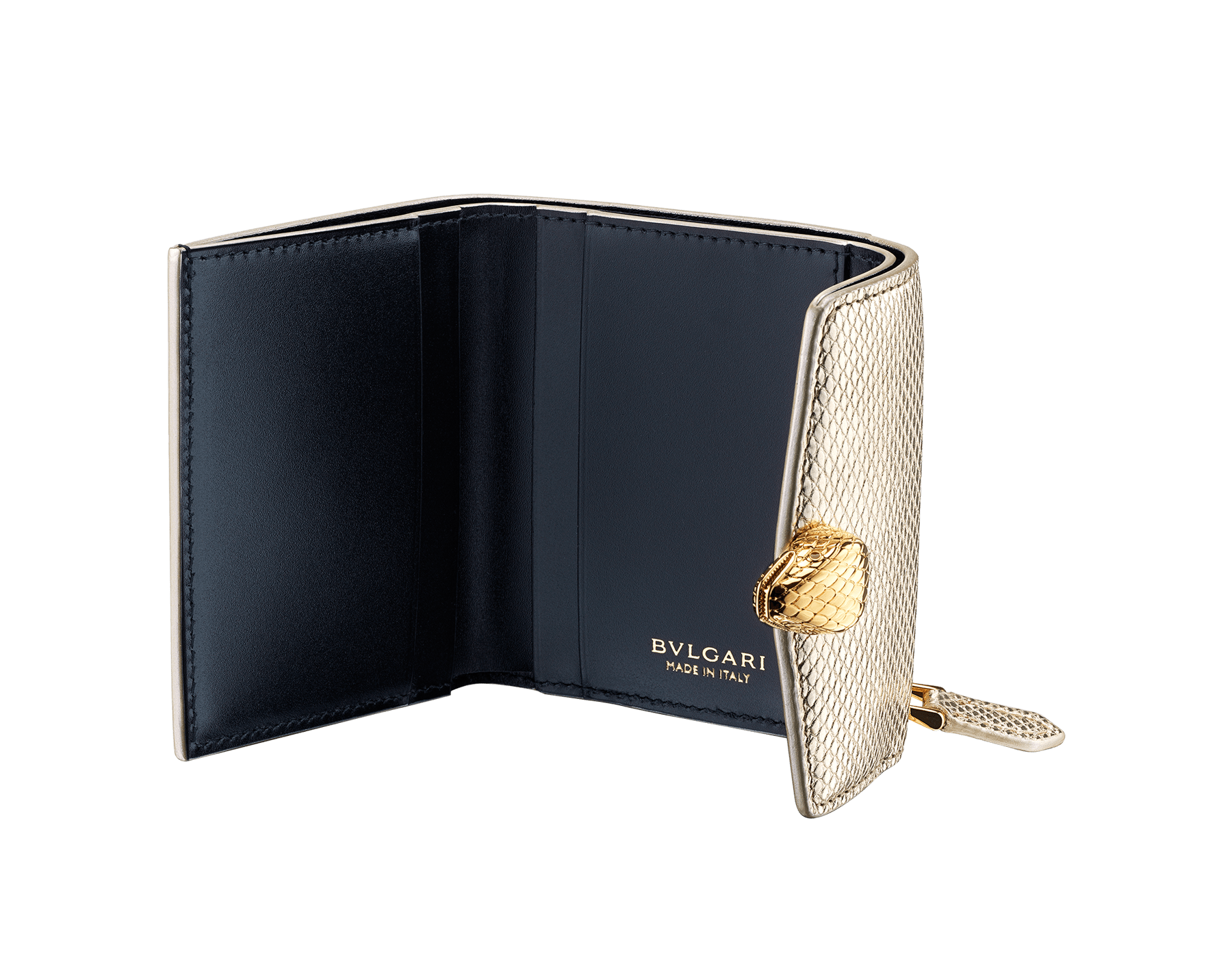 """Slender, compact """"Serpenti Forever"""" wallet in """"Molten"""" gold karung skin and black calfskin, offering a touch of radiance for the Winter Holidays. New Serpenti head closure in gold-plated brass, complete with ruby-red enamel eyes. SEA-SLIMCOMPACT-MoltK image 2"""