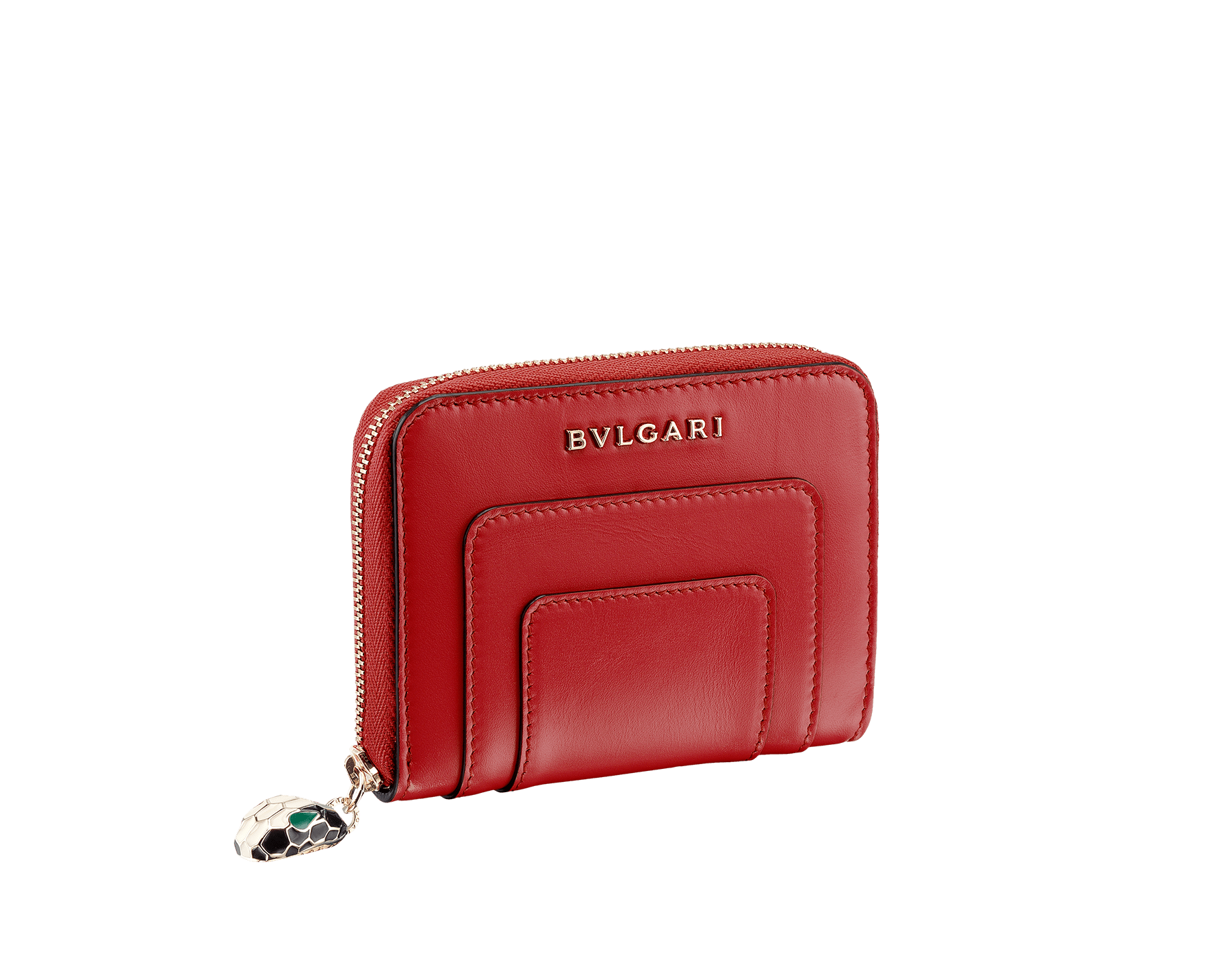 Mini zipped wallet in ruby red and desert quartz calf leather with fuxia nappa lining. Brass light gold plated hardware. Iconic black and white enamel Serpenti head zip puller with green enamel eyes. 281310 image 1