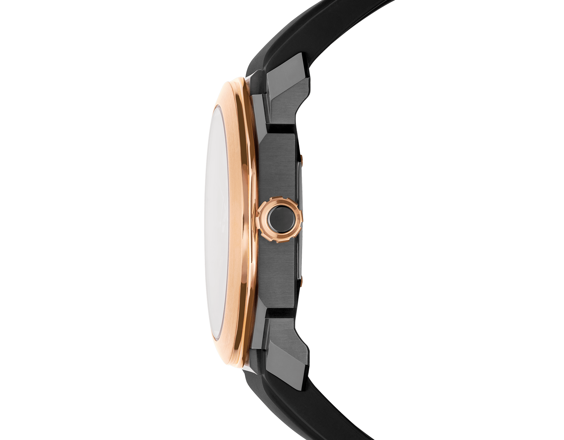 Octo watch with mechanical manufacture movement, automatic winding and date, stainless steel case treated with black Diamond Like Carbon, 18 kt rose gold bezel, black lacquered dial and black rubber bracelet. 102485 image 3