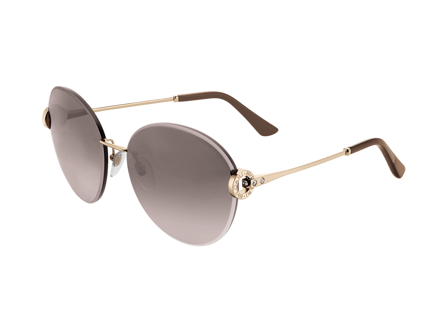 BVLGARI BVLGARI oversize rounded metal sunglasses with metal décor and crystals. 903806 image 1