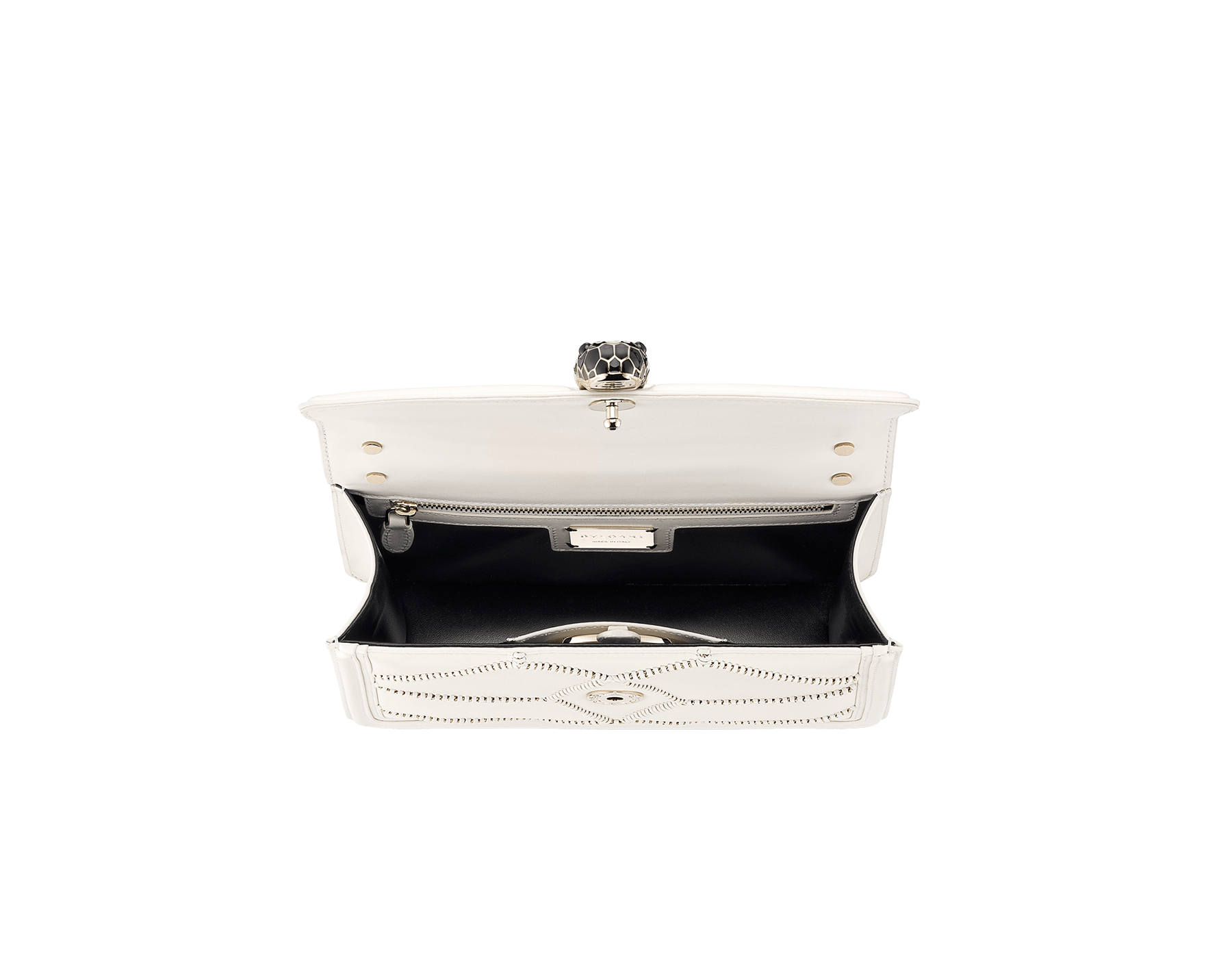 Serpenti Diamond Blast shoulder bag in white agate smooth calf leather with geometric chain motif in light gold finishing.Snakehead closure in light gold plated brass decorated with black and white enamel, and black onyx eyes. 922-NGC image 4