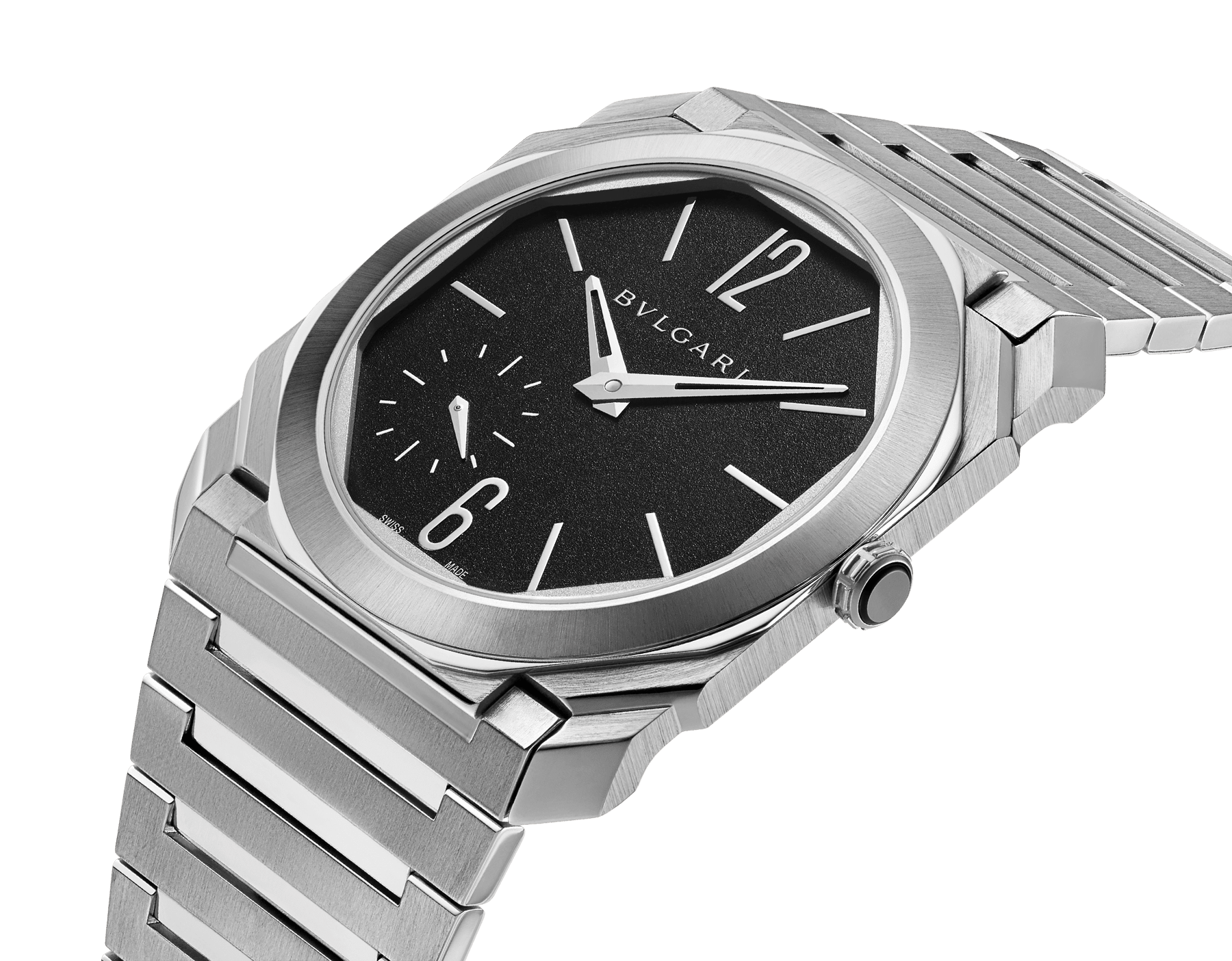 Octo Finissimo Automatic watch with mechanical manufacture movement, automatic winding, platinum microrotor, small seconds, extra-thin satin-polished stainless steel case and bracelet, transparent case back and black matte dial. Water-resistant up to 100 metres 103297 image 2
