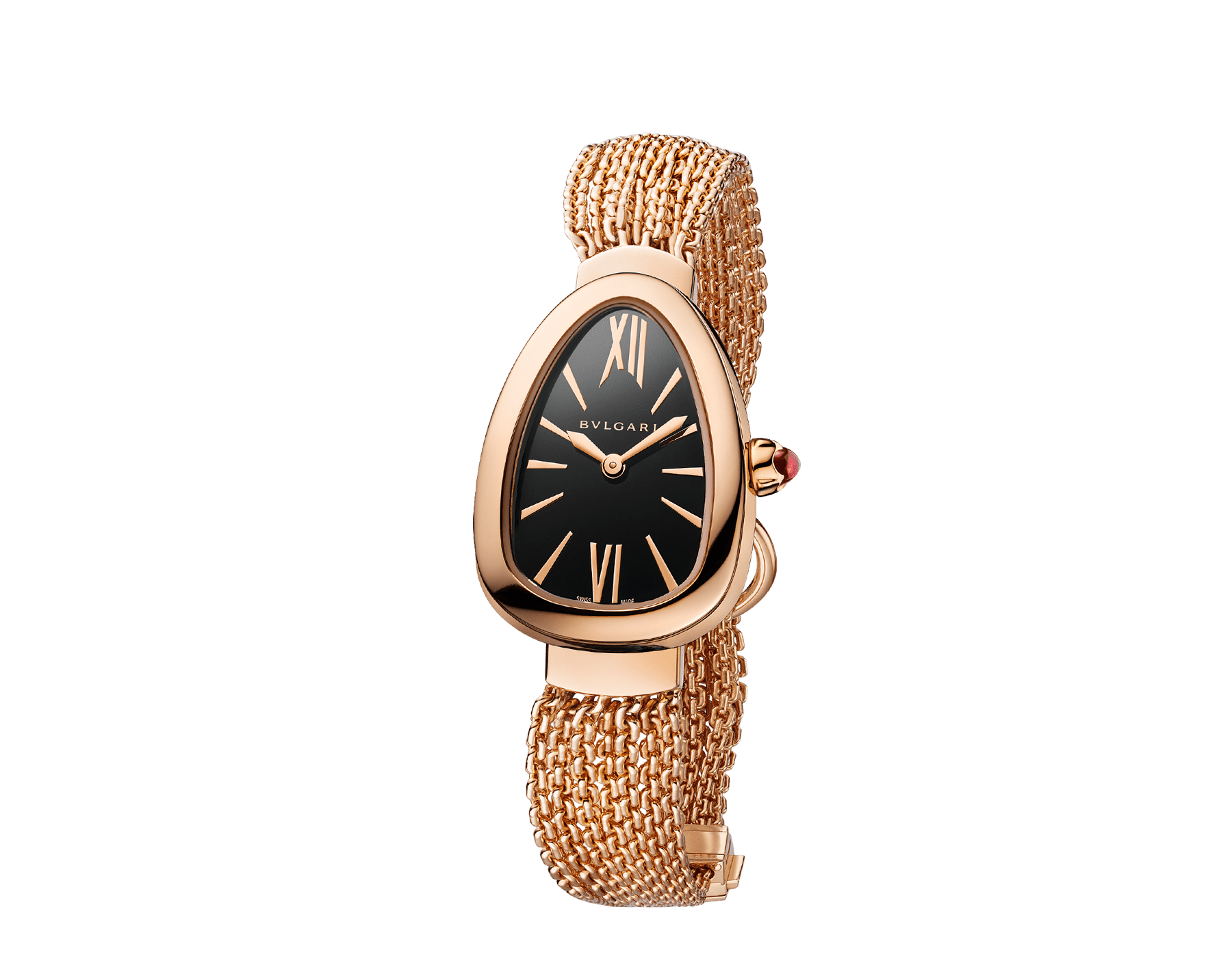 Serpenti watch in 18 kt rose gold case and interchangeable chain bracelet, with black lacquered dial 102728 image 2