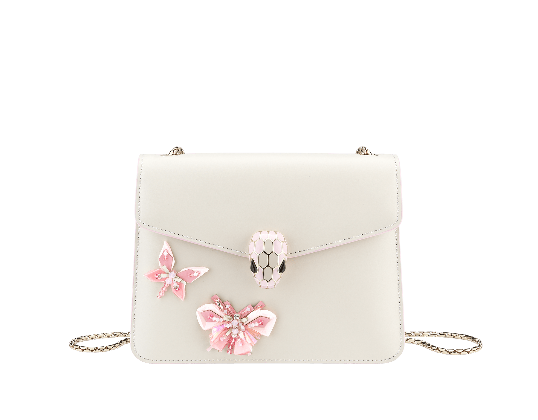 """Serpenti Forever"" crossbody bag in white agate calf leather with two rosa di francia butterflies embroidered. Iconic snakehead closure in light gold plated brass enriched with rosa di francia and white agate enamel and black onyx eyes. 289243 image 1"