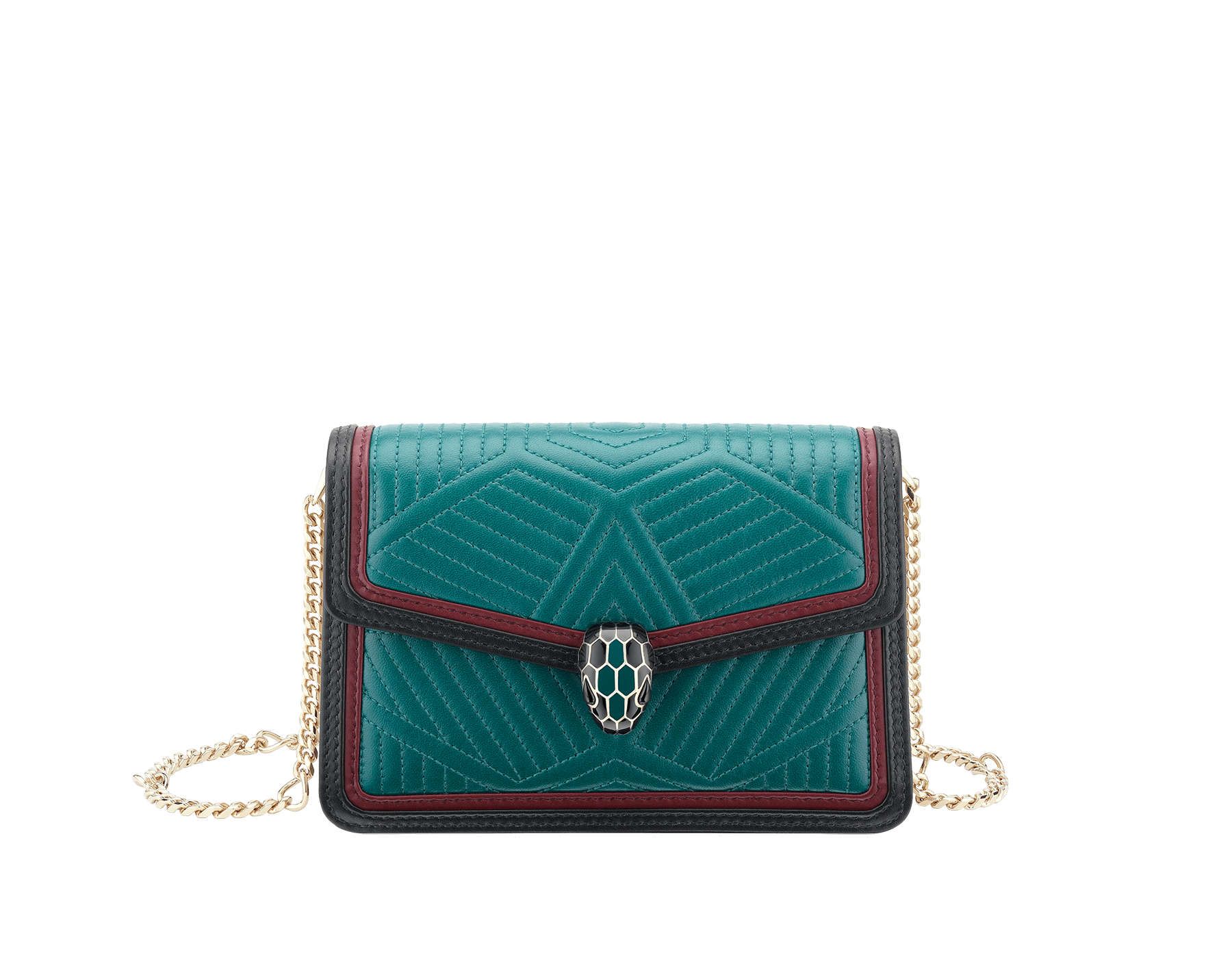 """Serpenti Diamond Blast"" crossbody micro bag in deep jade quilted nappa leather body and roman garnet and black calf leather frames. Iconic snakehead closure in light gold plated brass enriched with deep jade and black enamel and black onyx eyes. 288104 image 1"