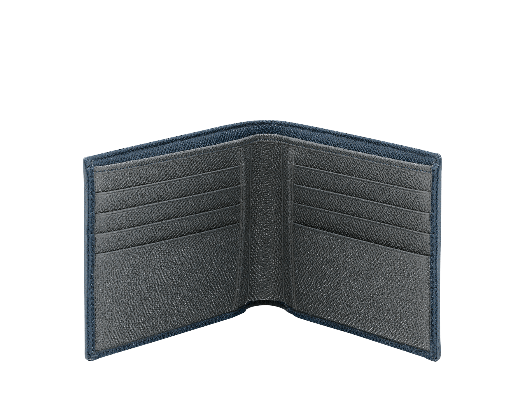 BVLGARI BVLGARI men's hipster wallet in denim sapphire and charcoal diamond grain calf leather. Iconic logo décor in palladium plated brass. 289109 image 2