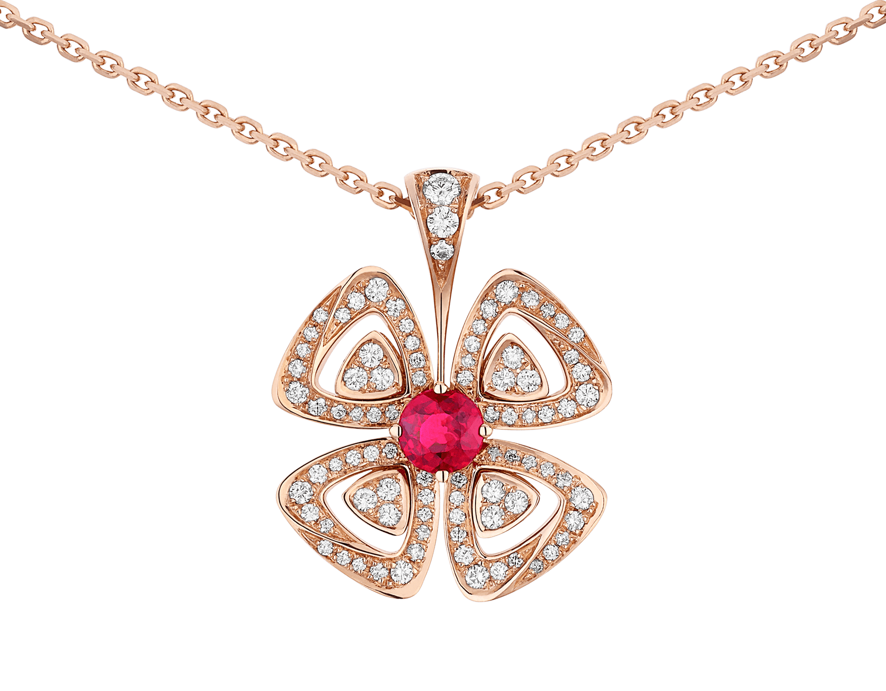 Fiorever 18 kt rose gold pendant necklace set with a central brilliant-cut ruby (0.35 ct) and pavé diamonds (0.31 ct) 358428 image 3