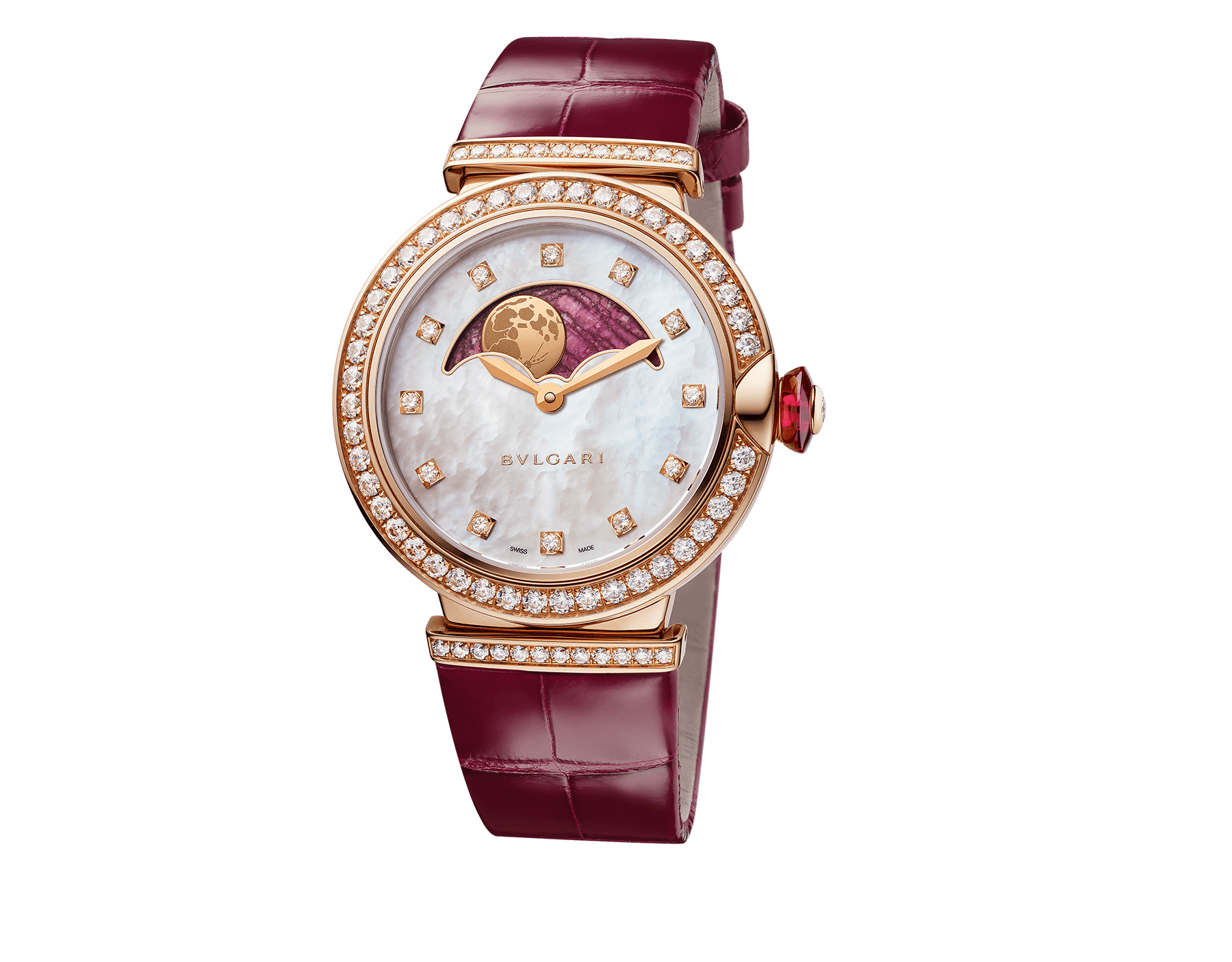 LVCEA Moon phase watch with 18 kt rose gold case set with diamonds, mother-of-pearl and heart of ruby dial, red alligator bracelet. 102686 image 2