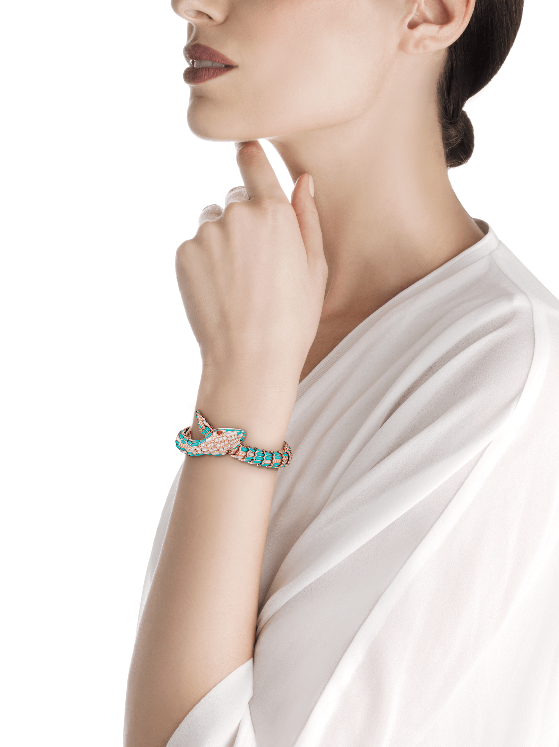 Serpenti Secret Watch with 18 kt rose gold head and single spiral bracelet, both set with brilliant cut diamonds, turquoise and mother-of-pearl elements, ruby eyes, 18 kt rose gold case, 18 kt rose gold dial set with brilliant cut diamonds and mother-of-pearl. 102533 image 3