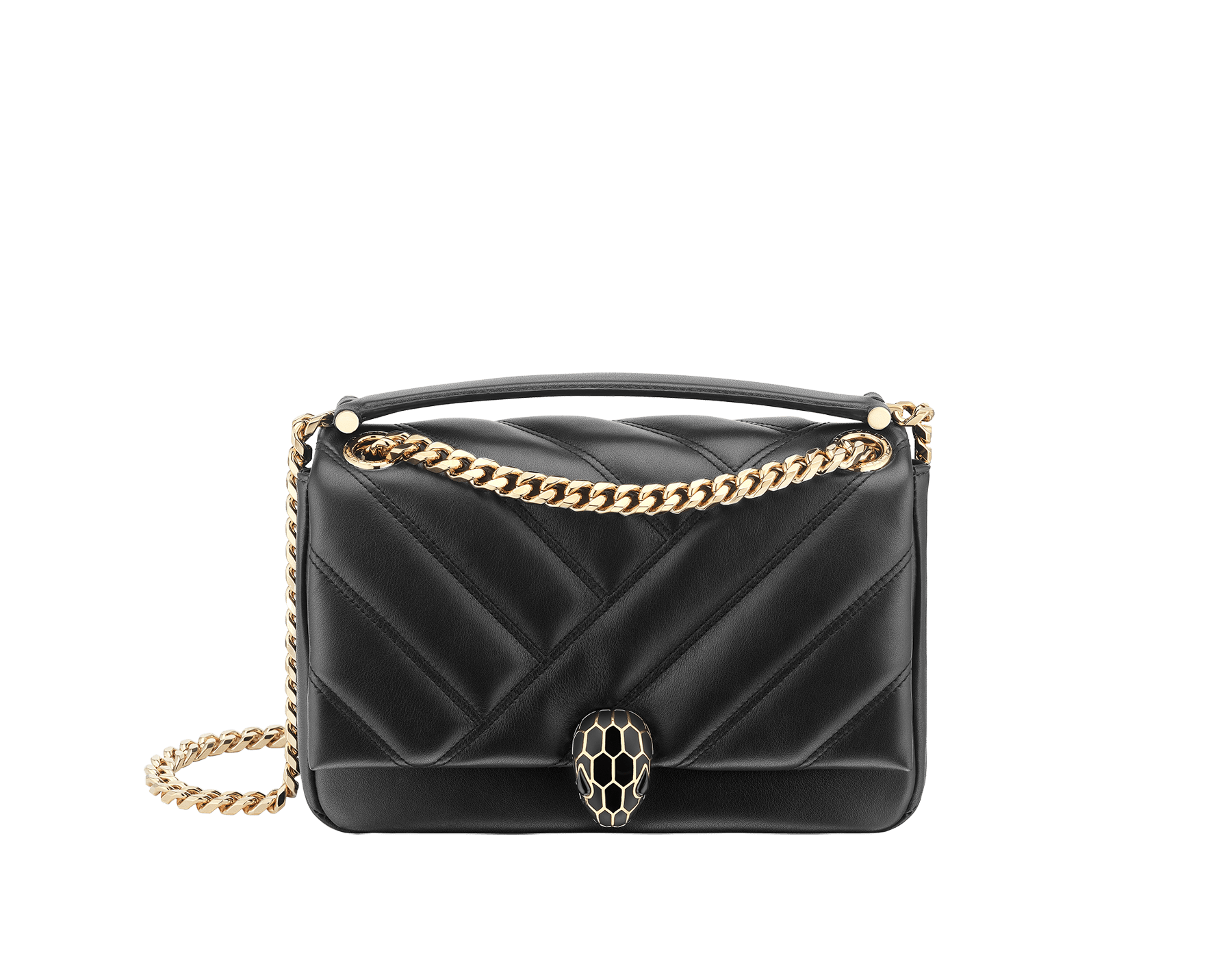 Serpenti Cabochon shoulder bag in soft matelassé black nappa leather with graphic motif and black calf leather. Snakehead closure in rose gold plated brass decorated with matte black and shiny black enamel, and black onyx eyes. 287987 image 1