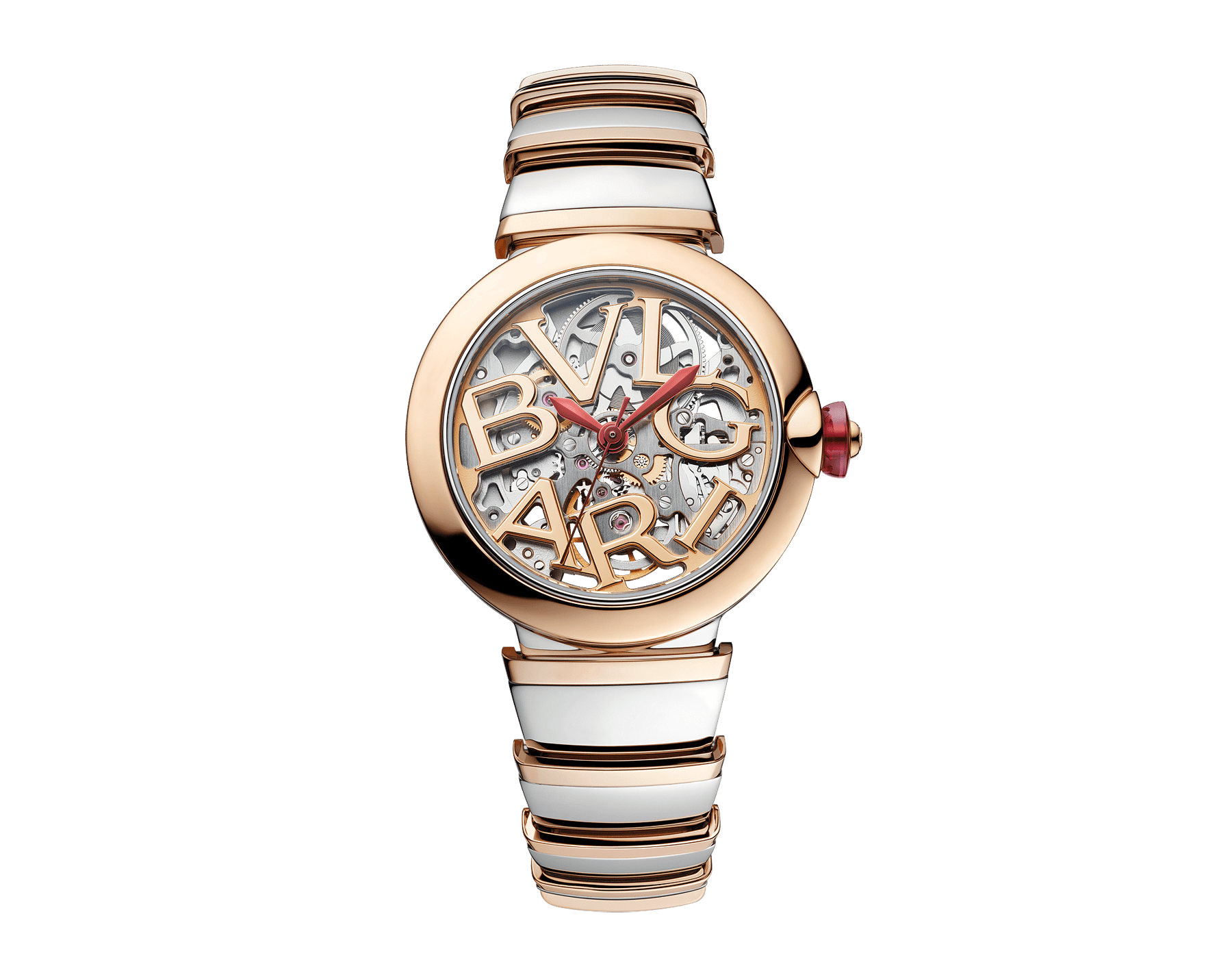 LVCEA Skeleton watch with mechanical manufacture movement, automatic winding, stainless steel and 18 kt rose gold case and bracelet, and openwork BVLGARI logo dial 102878 image 1
