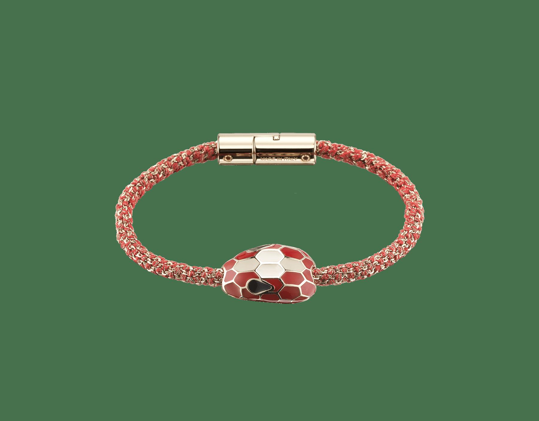 Bracelet Serpenti Forever en soie tressée métallisée couleur Carmine Jasper avec motif Serpenti emblématique en émail couleur Carmine Jasper et blanc. RollingChain-S-CJ image 1