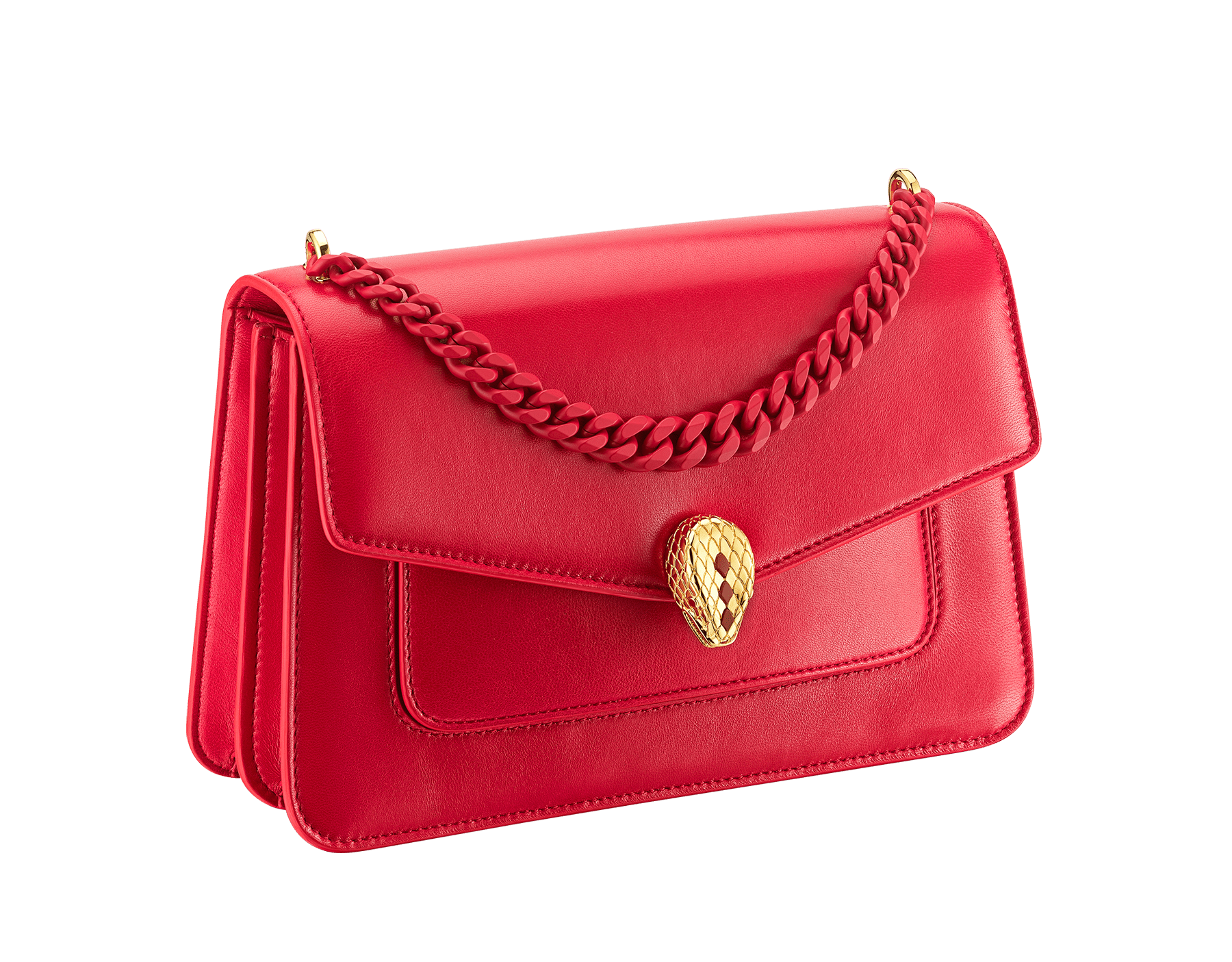 """Serpenti Forever"" maxi chain crossbody bag in Amaranth Garnet red nappa leather, with Pink Spinel fuchsia nappa leather inner lining. New Serpenti head closure in gold-plated brass, finished with small red carnelian scales in the middle and red enamel eyes. 1138-MCN image 2"