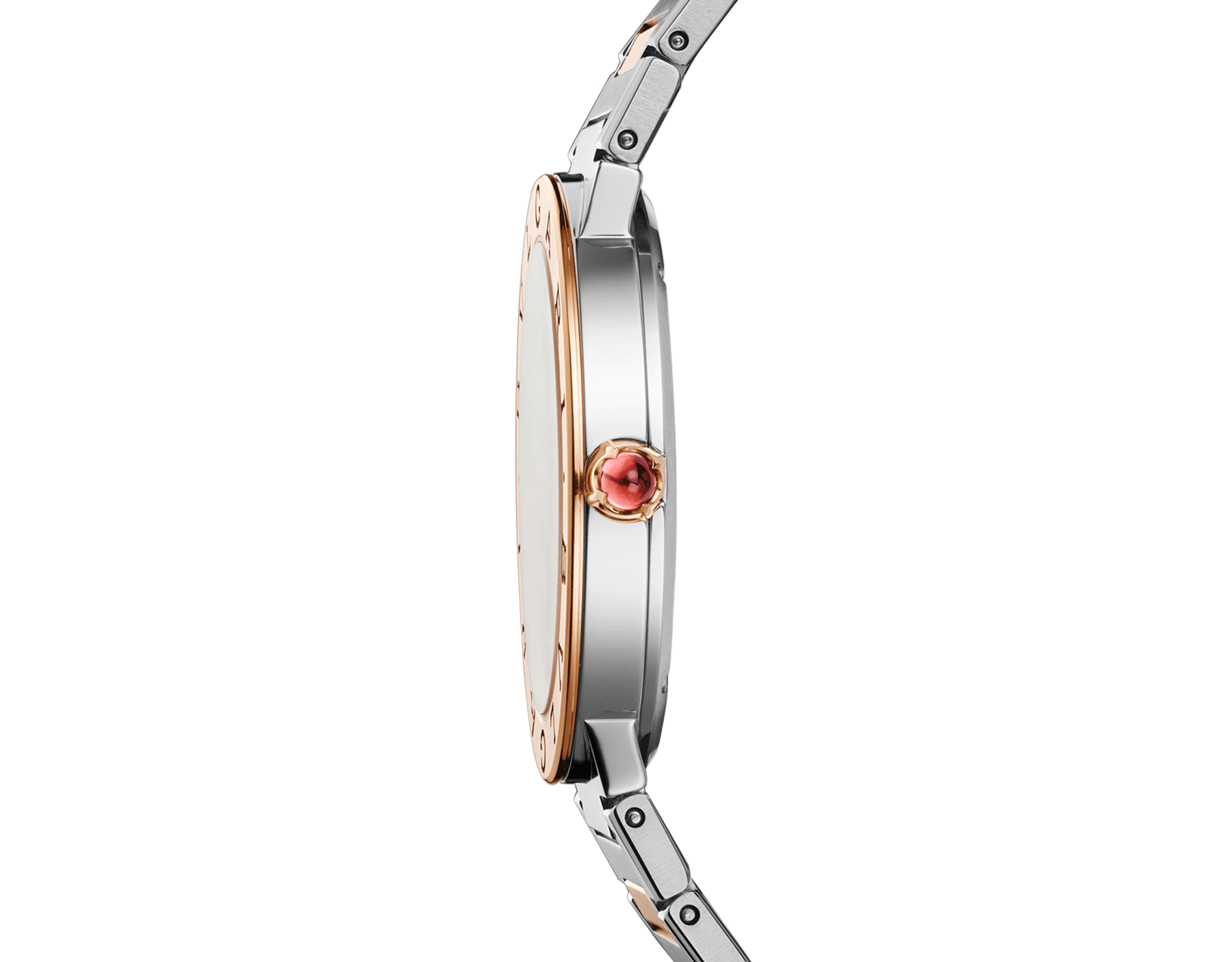BVLGARI BVLGARI watch in 18 kt rose gold and stainless steel case and bracelet, 18 kt rose gold bezel engraved with double logo, green satiné soleil lacquered dial and diamond indexes 103202 image 3