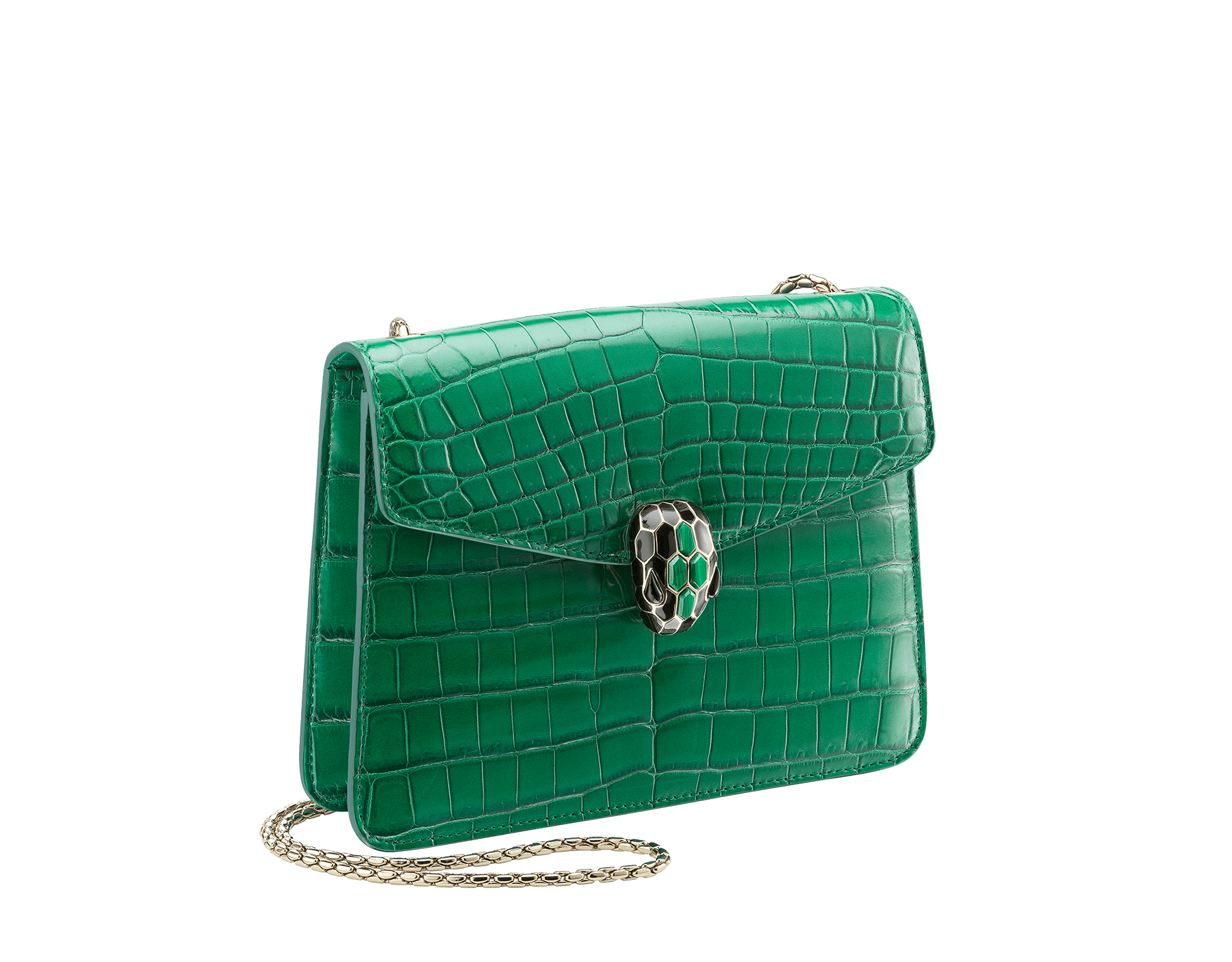 """Serpenti Forever"" crossbody bag in white agate crocodile skin with an iridescent and pearled effect. Iconic snake head closure in light gold plated brass enriched with black enamel and mother-of-pearl scales, and blue lapis lazuli eyes. 422-CR image 2"